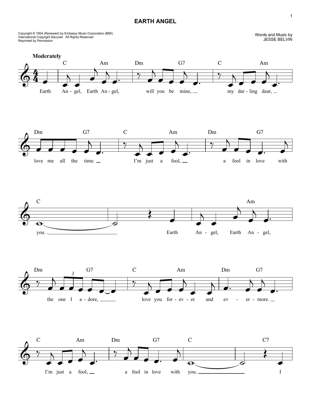 Earth Angel Sheet Music