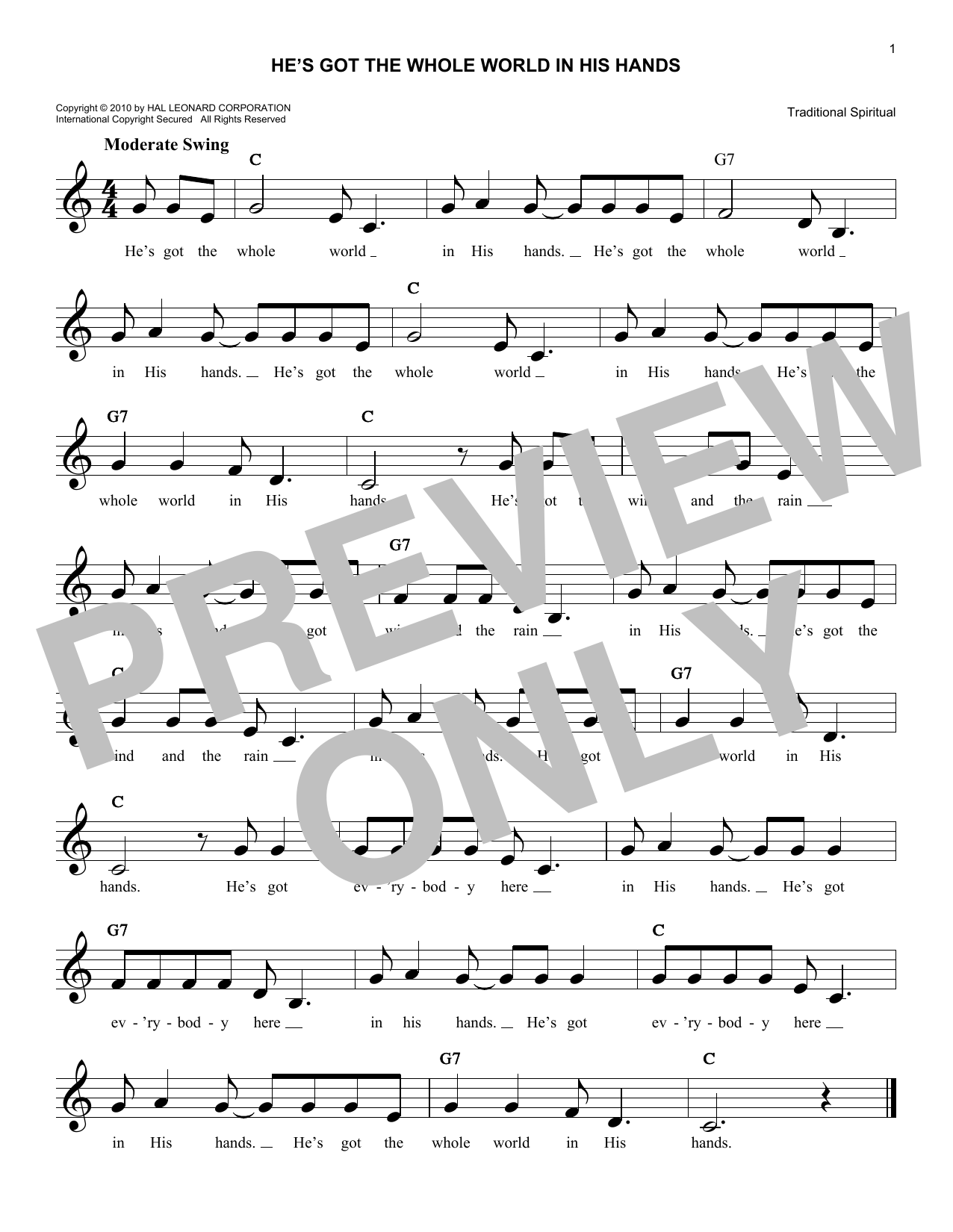 He's Got The Whole World In His Hands (Lead Sheet / Fake Book)