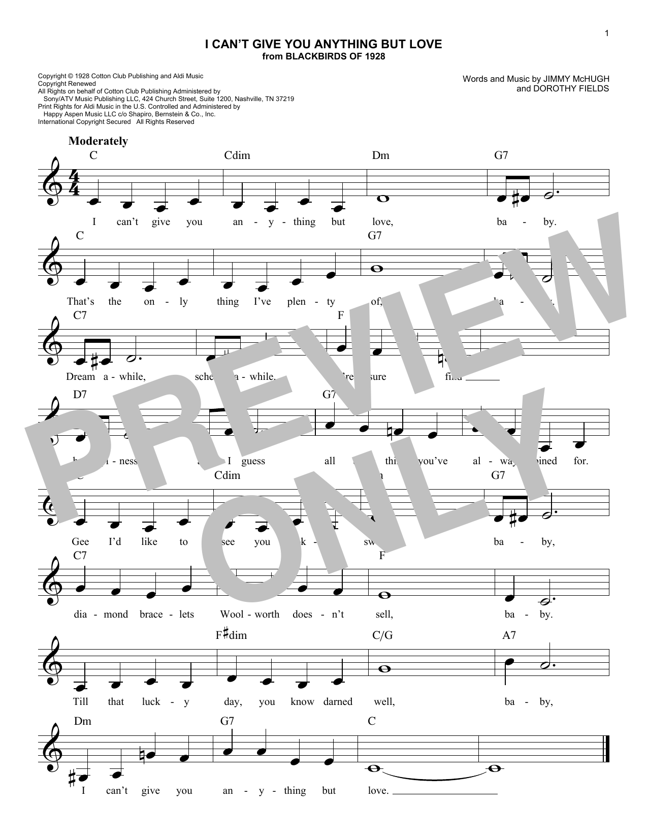 I Can't Give You Anything But Love (from Blackbirds of 1928) (Lead Sheet / Fake Book)