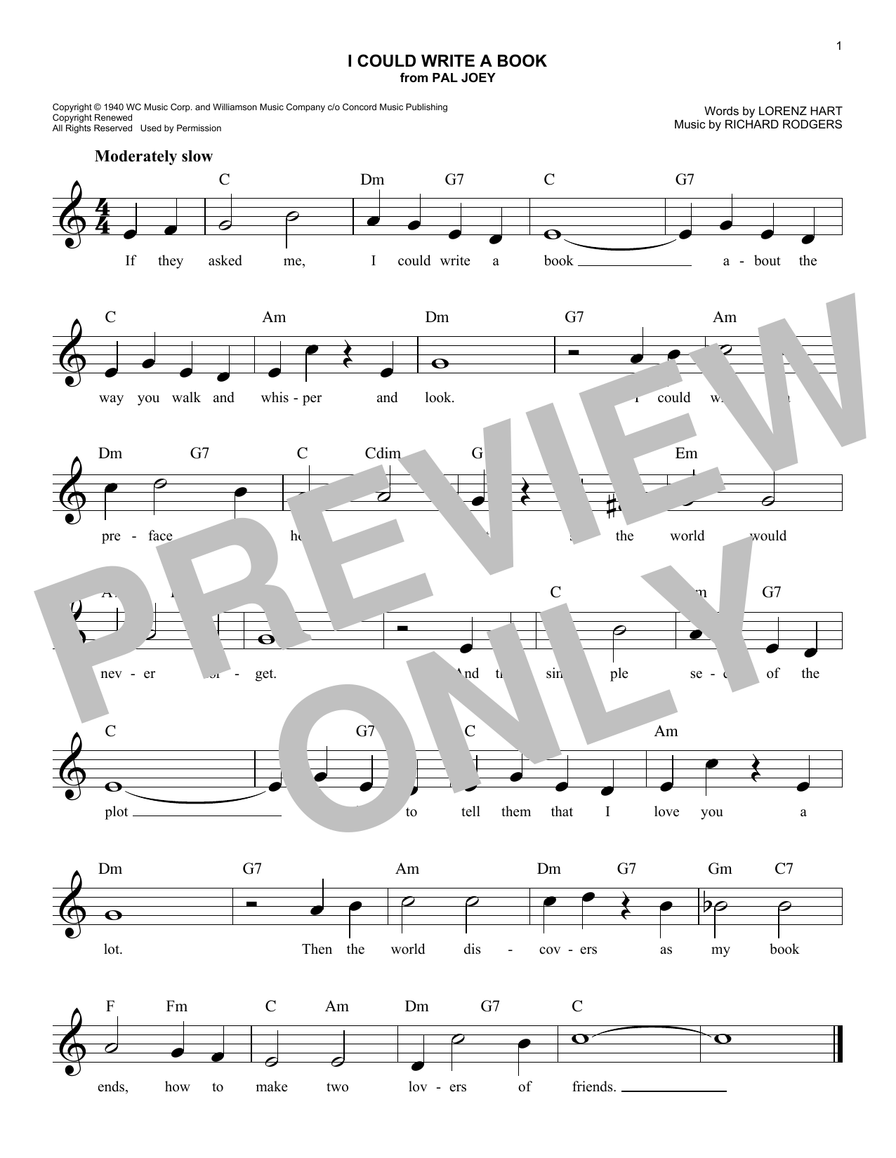 I Could Write A Book (from Pal Joey) (Lead Sheet / Fake Book)