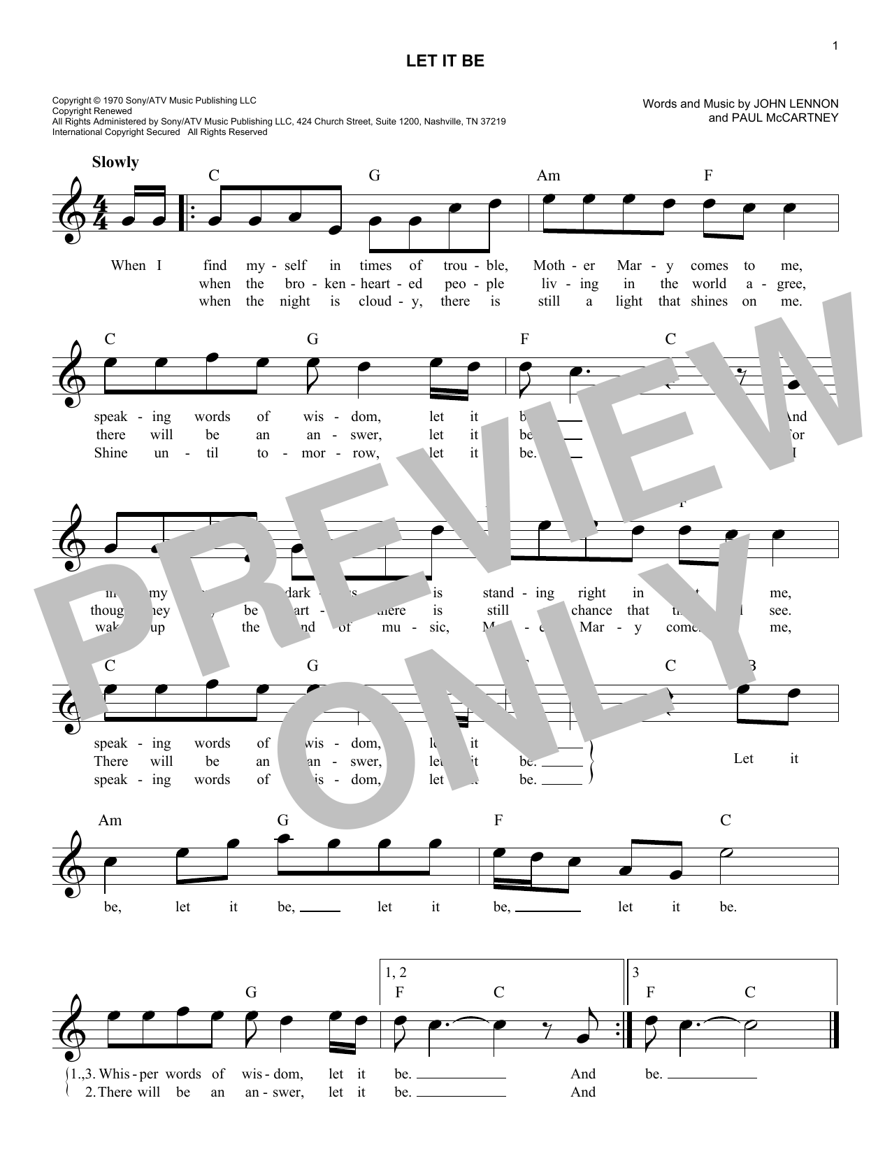 Let it be chords by the beatles melody line lyrics chords let it be sheet music hexwebz Images