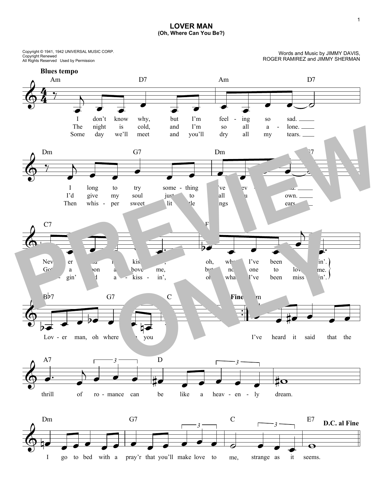 Lover Man (Oh, Where Can You Be?) (Lead Sheet / Fake Book)