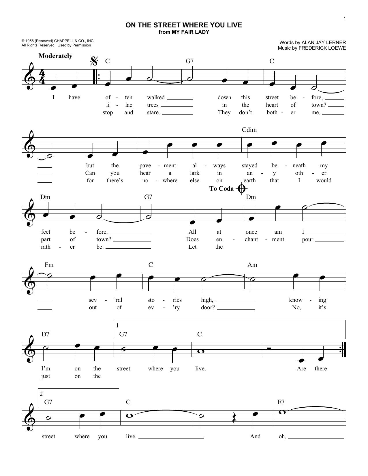 On The Street Where You Live (from My Fair Lady) (Lead Sheet / Fake Book)
