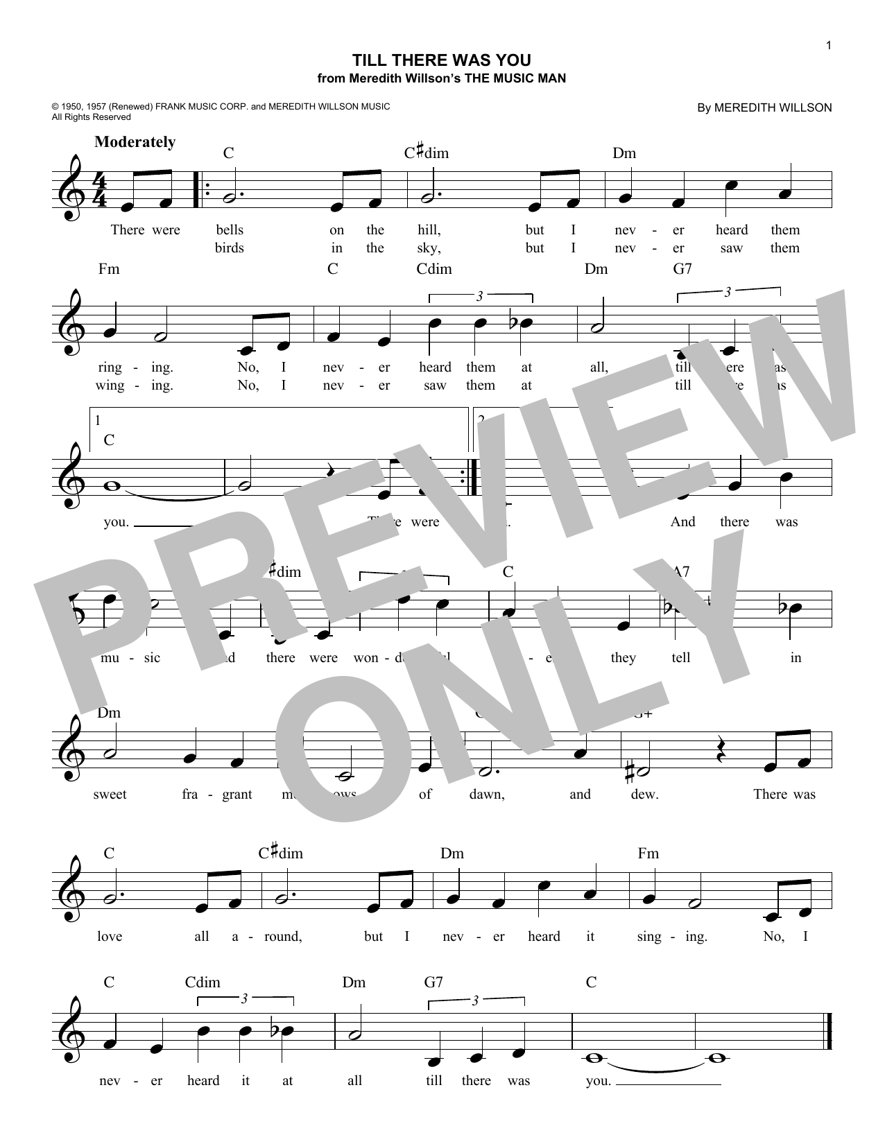 Till There Was You (Lead Sheet / Fake Book)