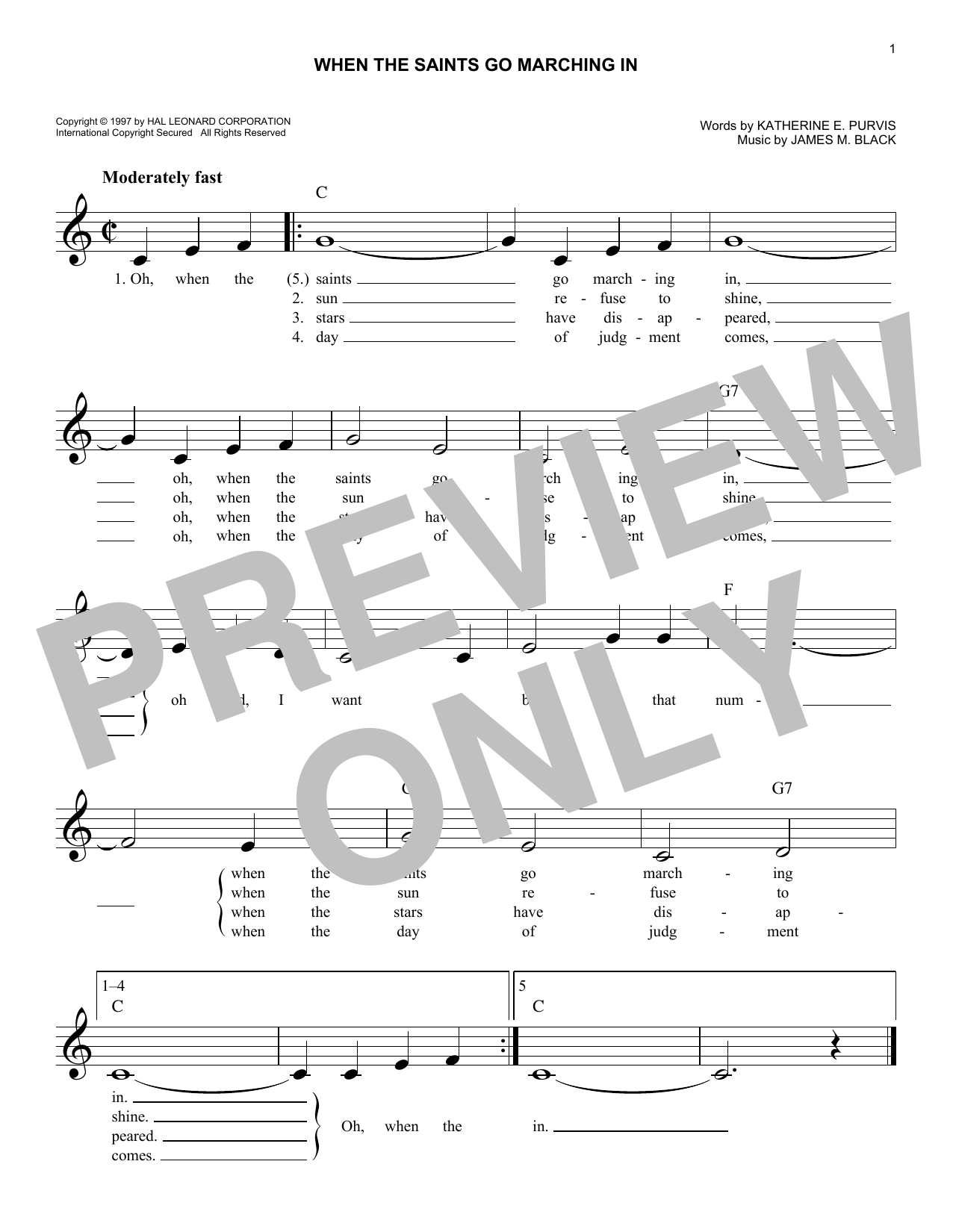 When The Saints Go Marching In (Lead Sheet / Fake Book)