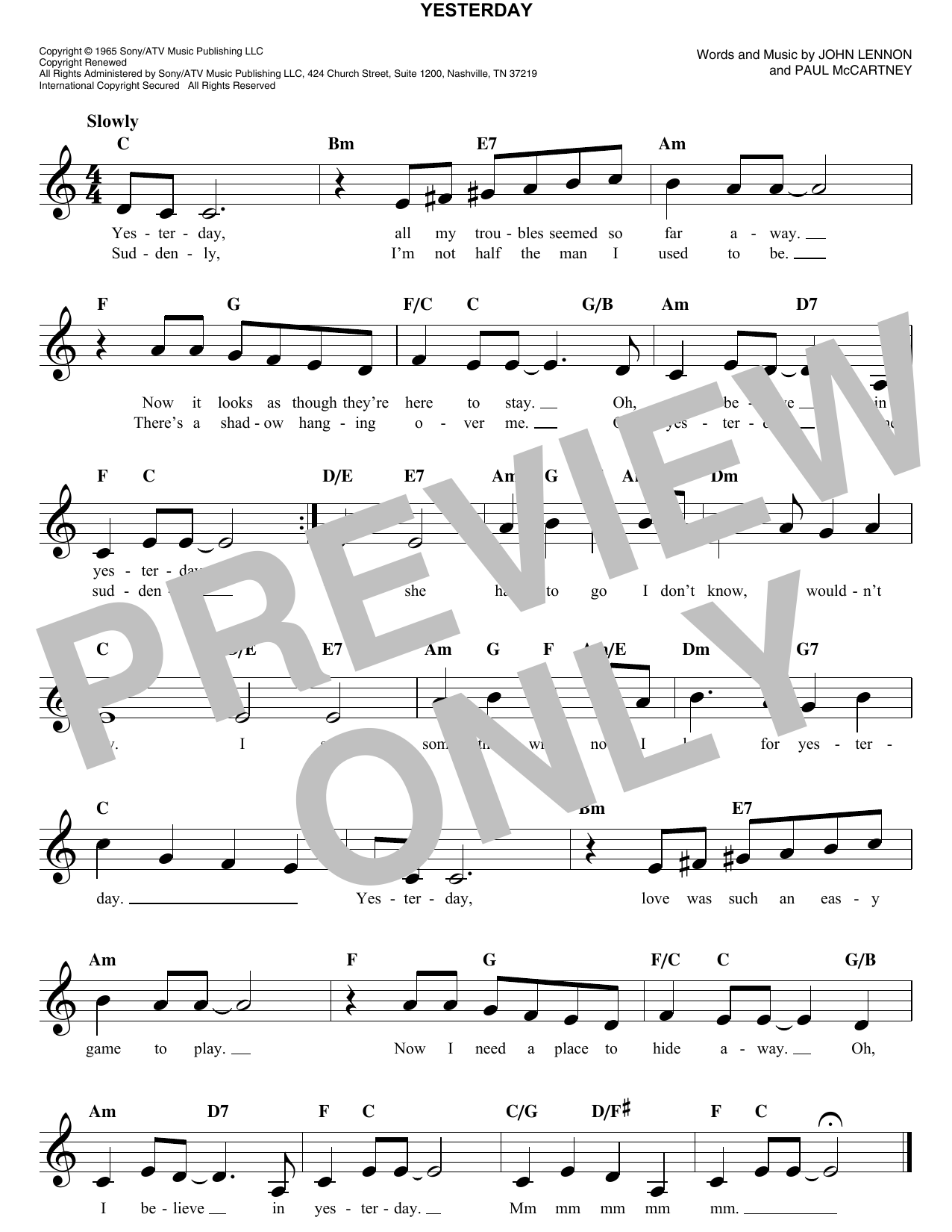 Yesterday chords by the beatles melody line lyrics chords the beatles yesterday melody line lyrics chords hexwebz Images