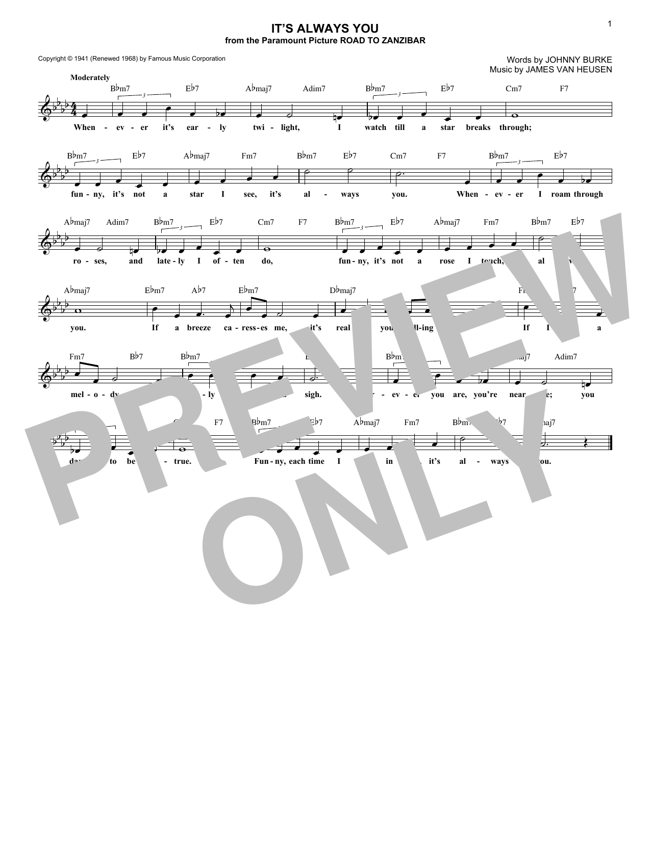 It's Always You (Lead Sheet / Fake Book)