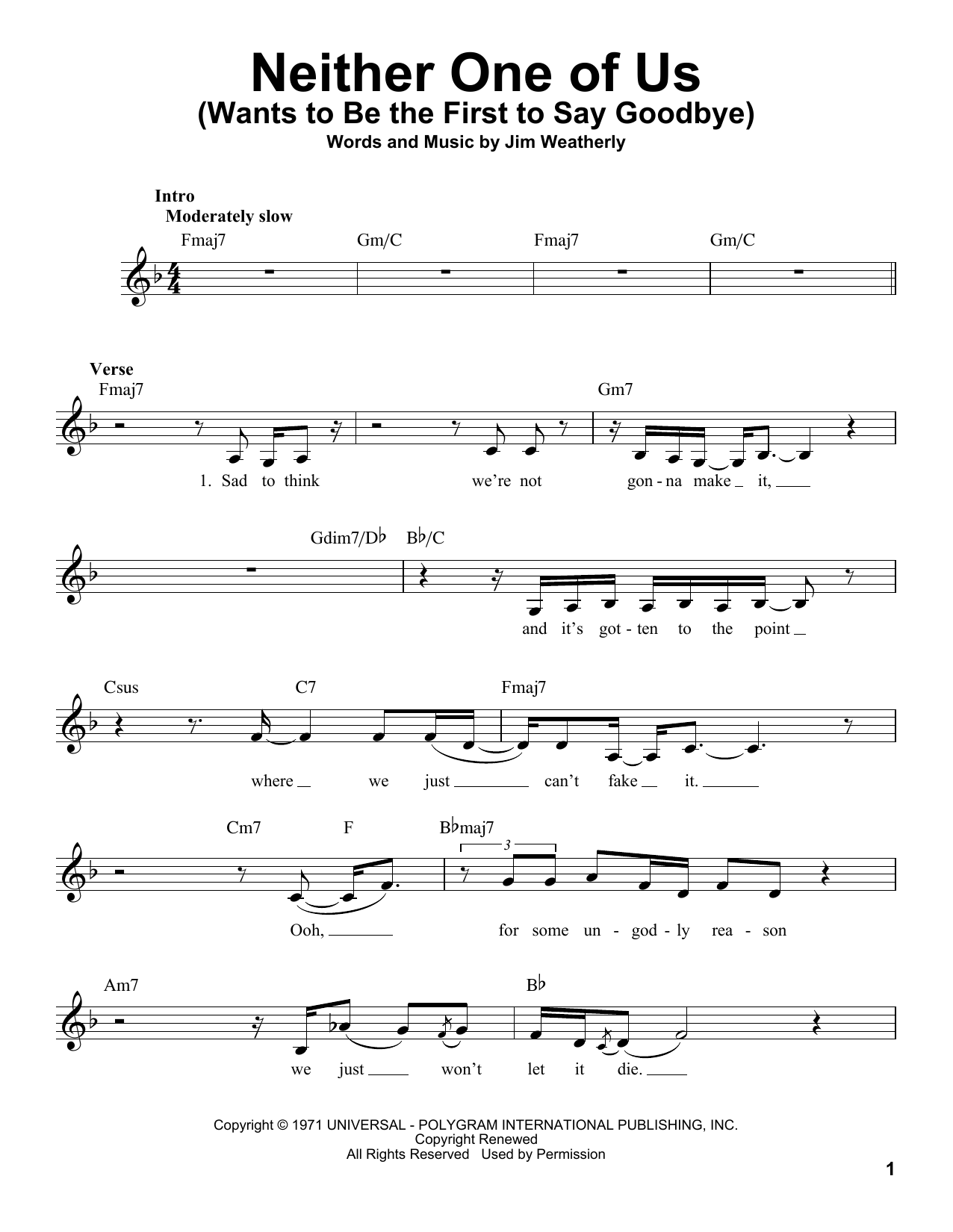 Neither One Of Us (Wants To Be The First To Say Goodbye) Sheet Music