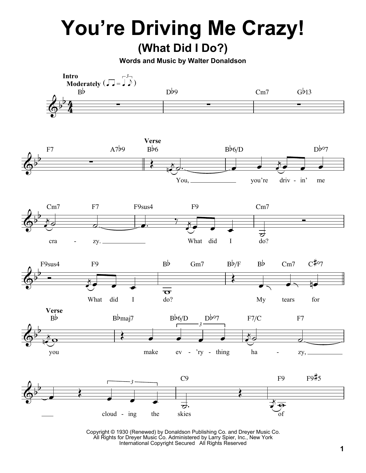 You're Driving Me Crazy! (What Did I Do?) Sheet Music