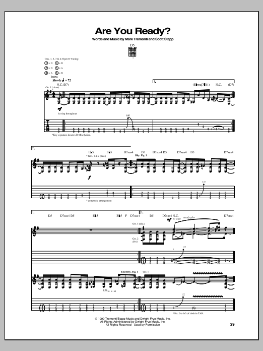 Are You Ready? Sheet Music