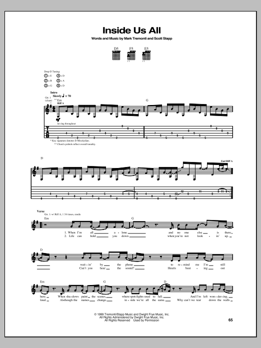 Inside Us All Sheet Music