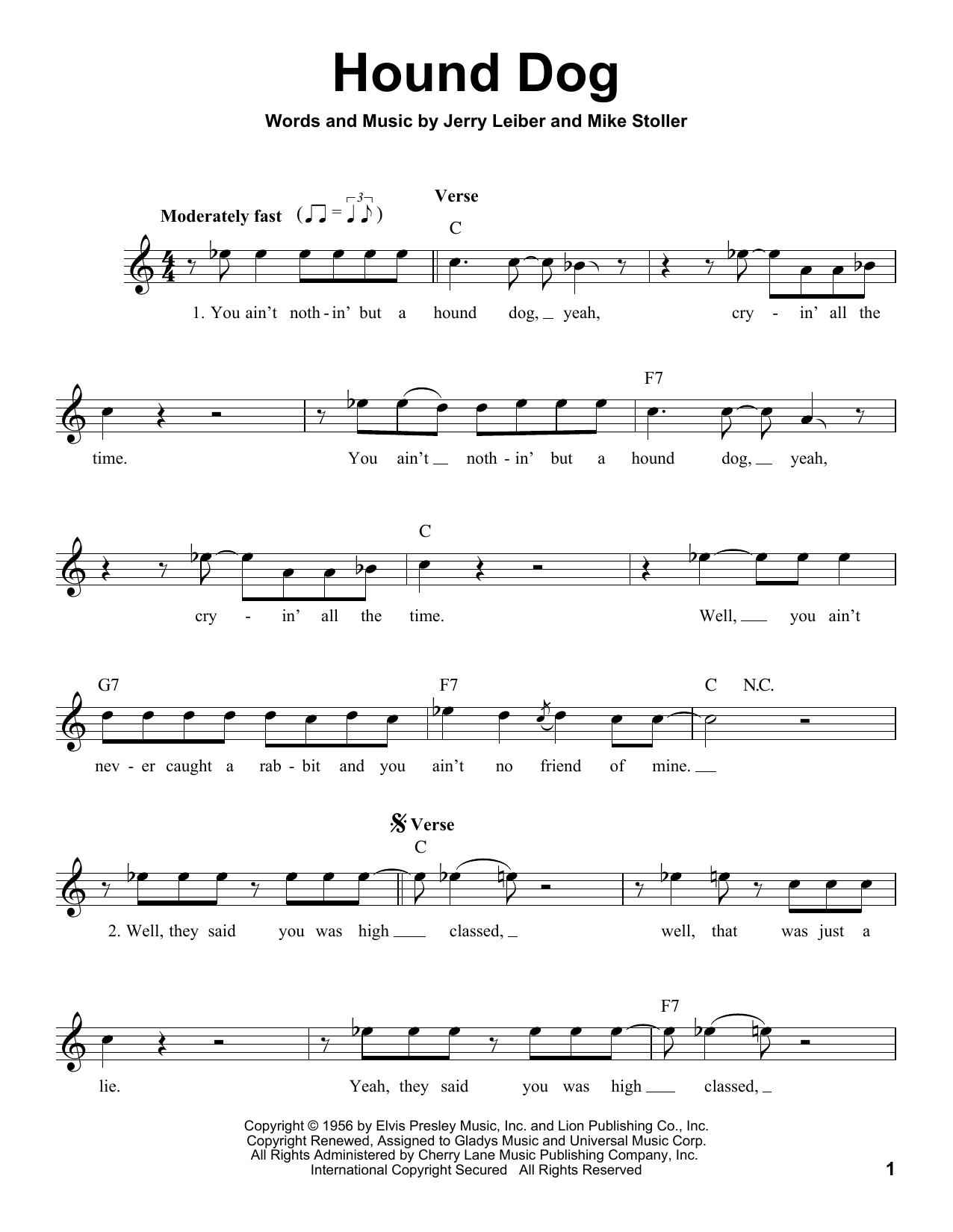 Hound Dog Print Sheet Music Now