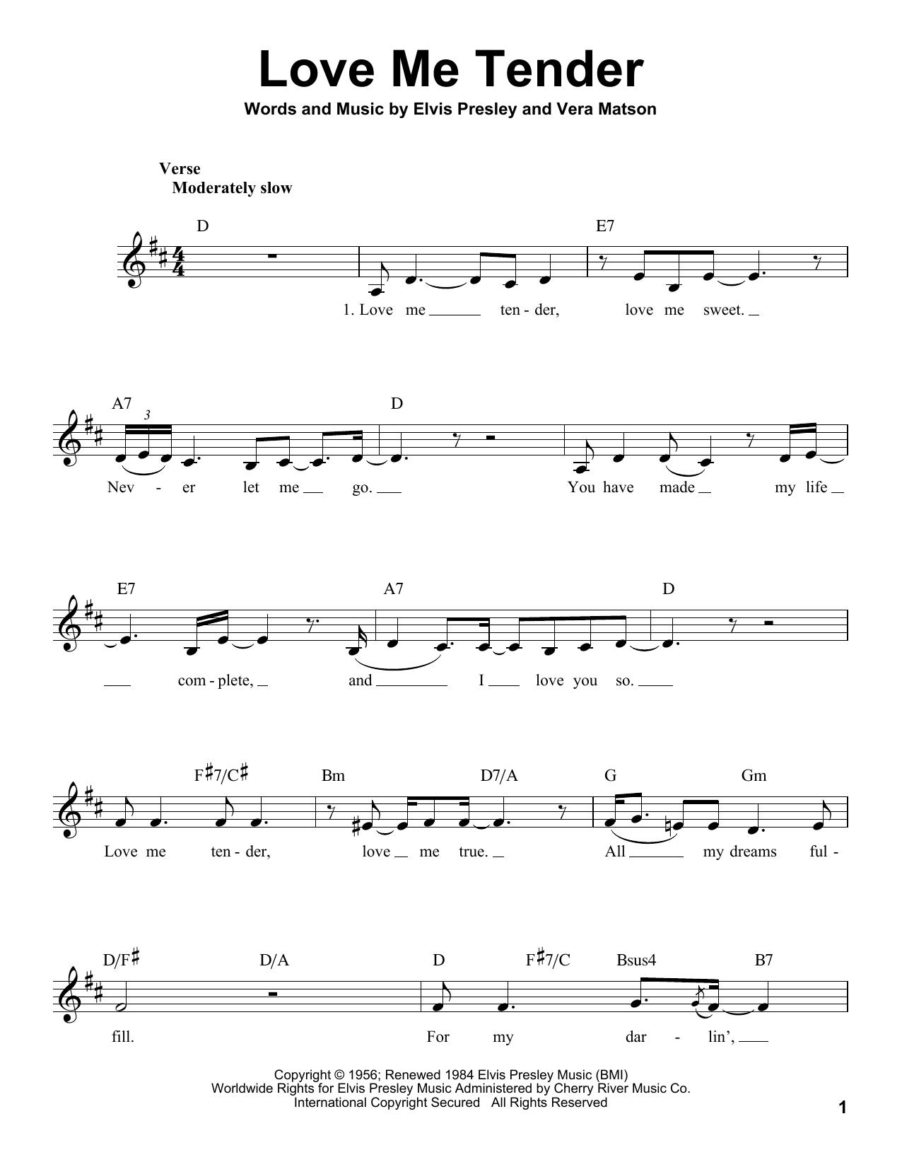 Love Me Tender Sheet Music By Elvis Presley Voice 183116