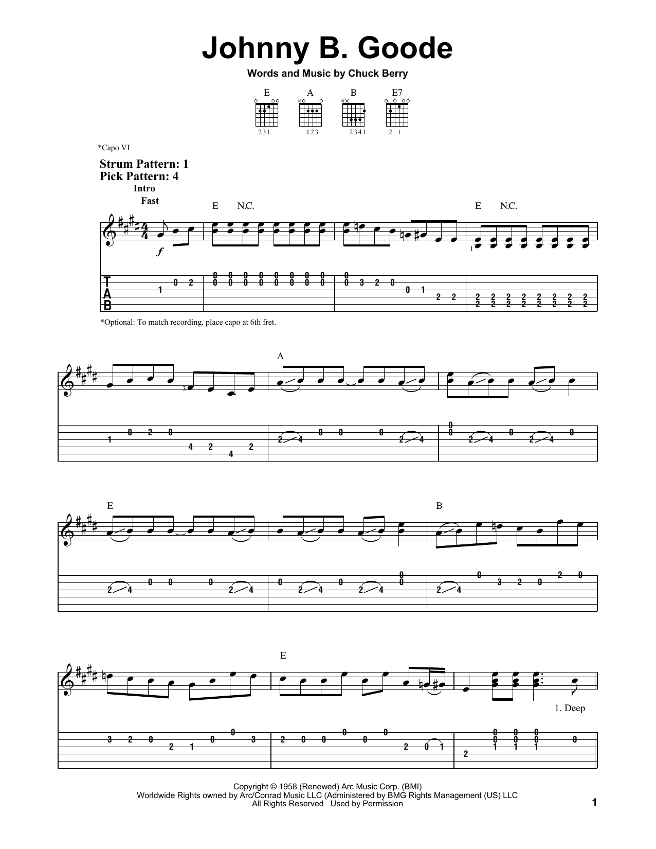 Johnny B. Goode (Easy Guitar Tab)