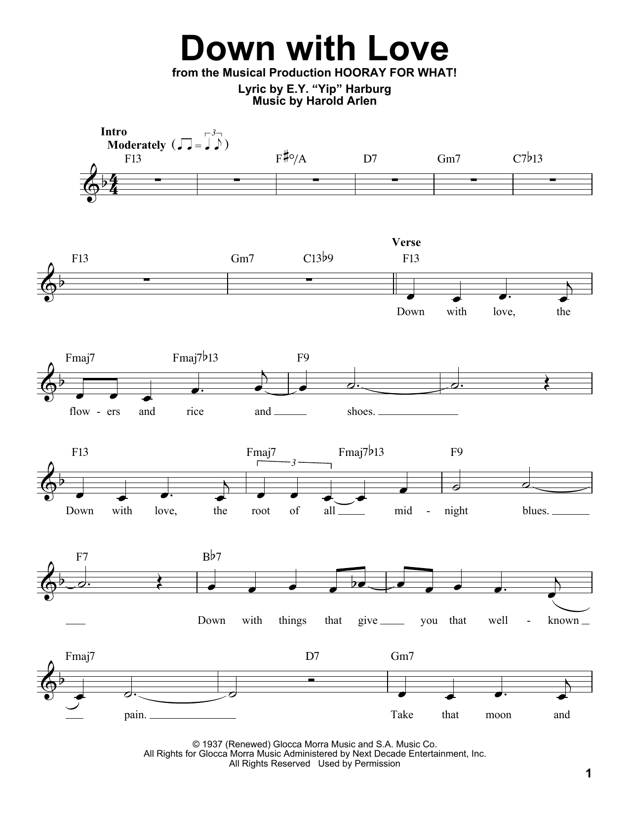 Down With Love Sheet Music