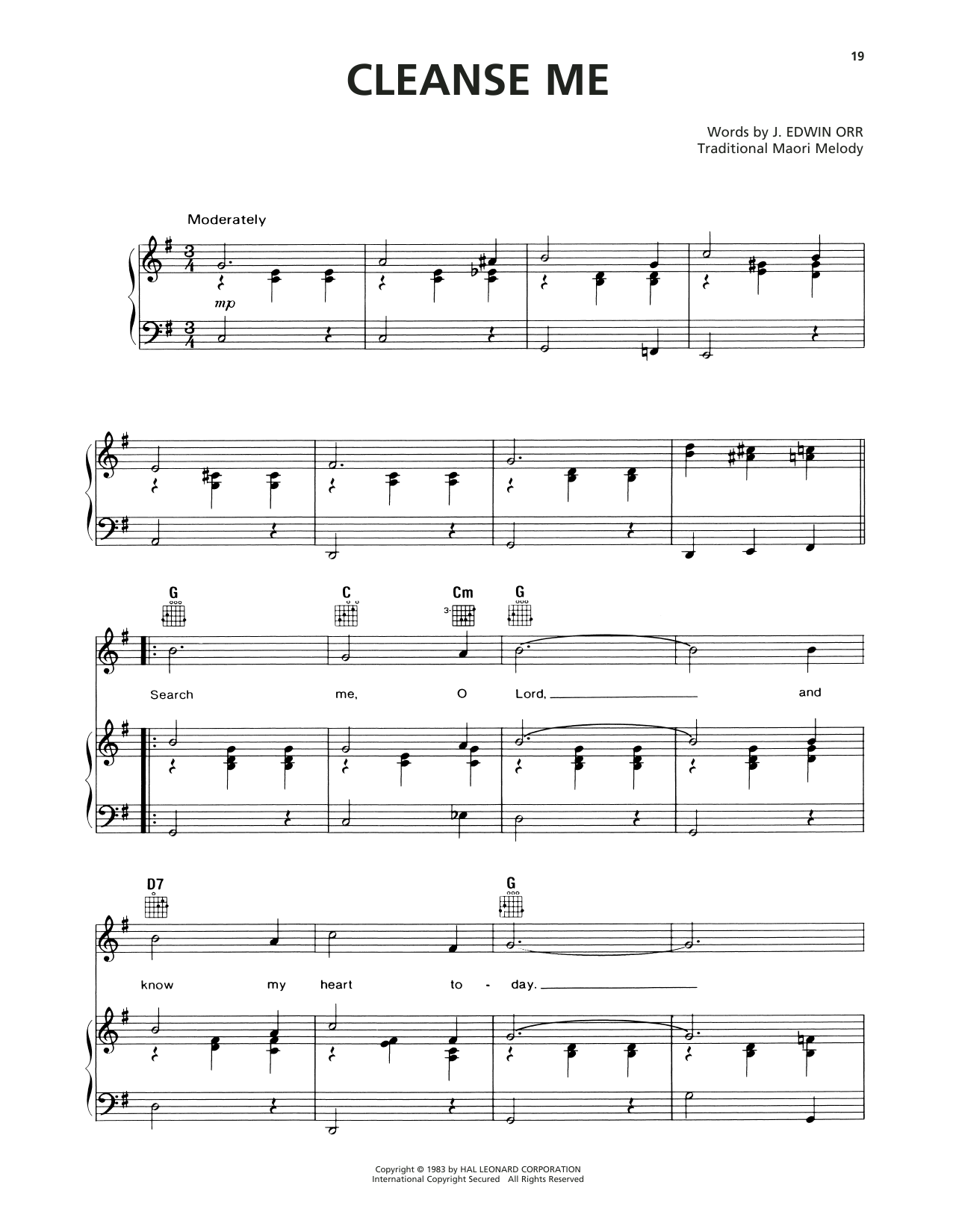 Cleanse Me (Search Me, O God) (Piano, Vocal & Guitar (Right-Hand Melody))