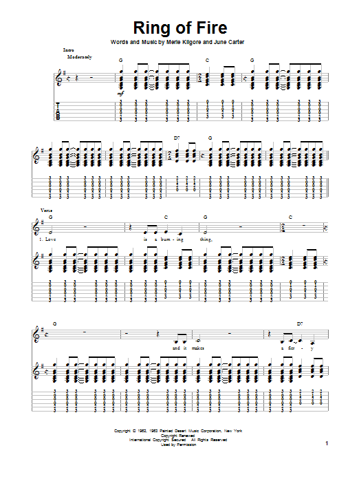 Ring Of Fire By Johnny Cash Guitar Tab Play Along Guitar
