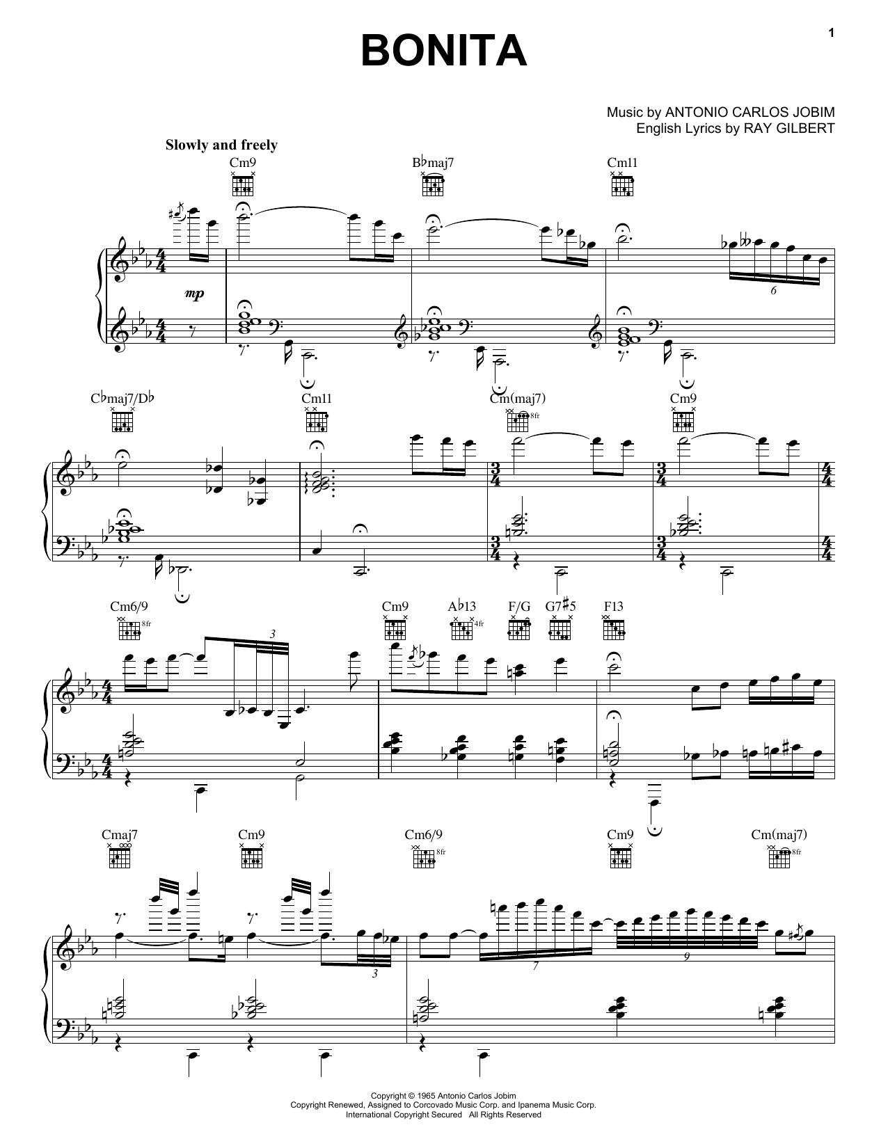 Partition piano Bonita de Antonio Carlos Jobim - Piano Voix Guitare (Mélodie Main Droite)