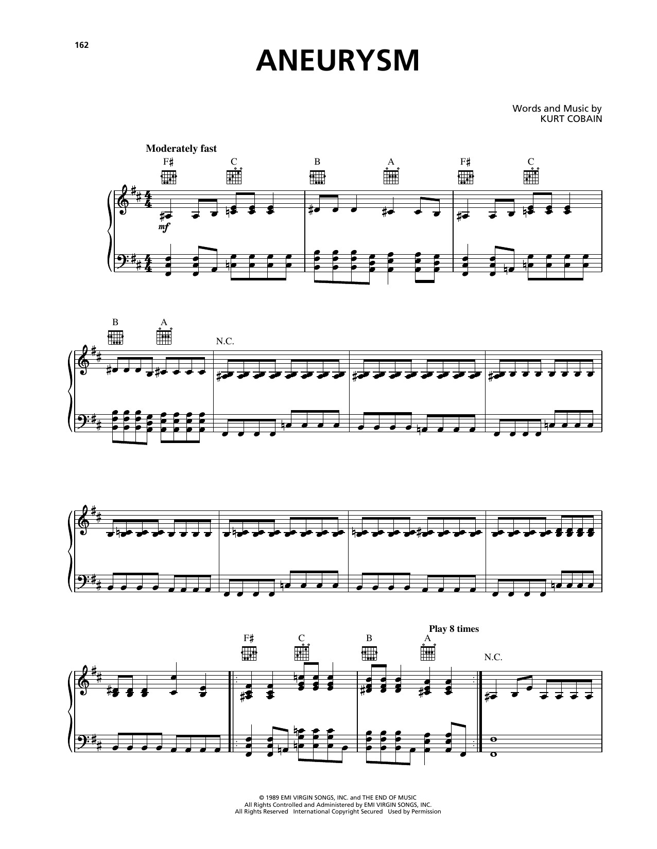 Aneurysm (Piano, Vocal & Guitar (Right-Hand Melody))