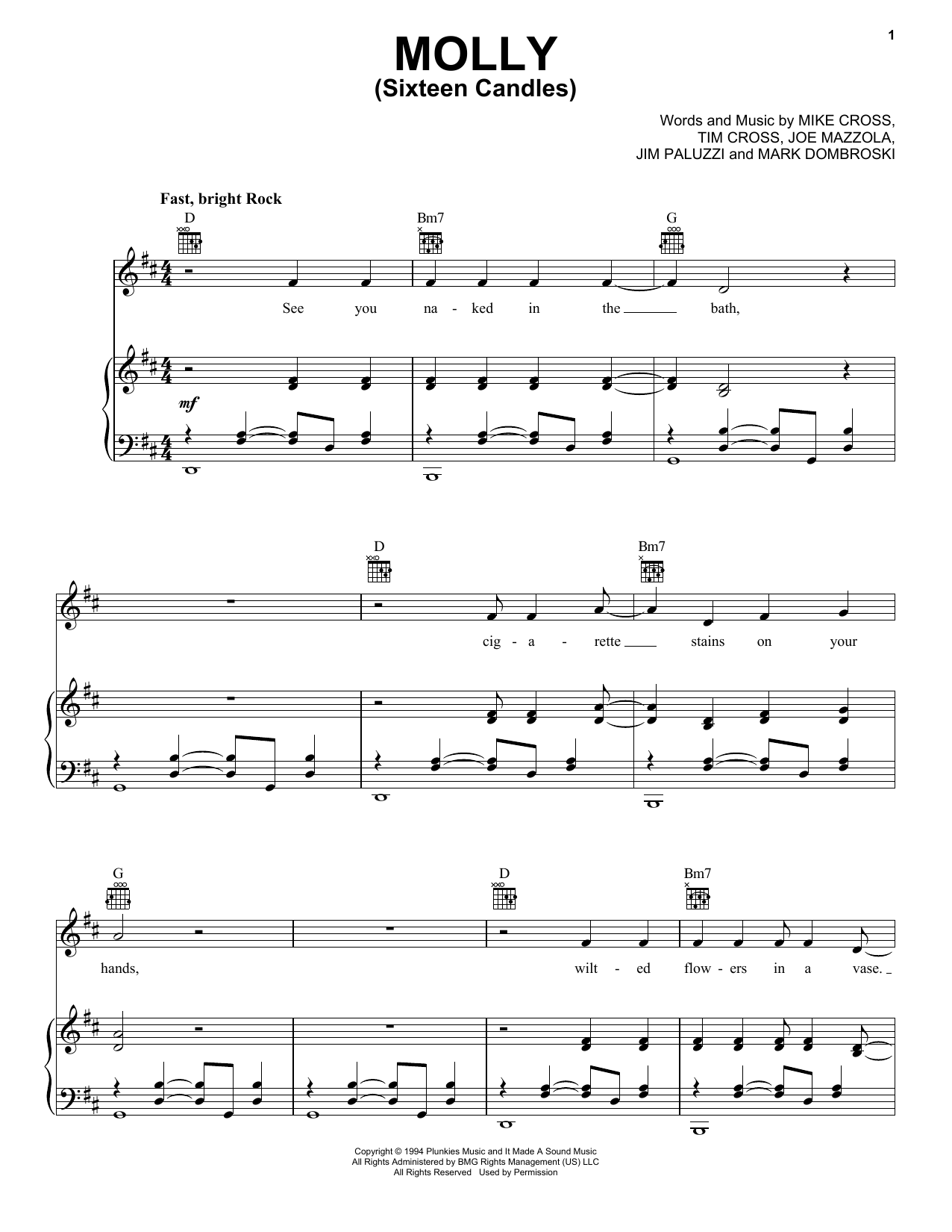 Molly (Sixteen Candles) (Piano, Vocal & Guitar (Right-Hand Melody))