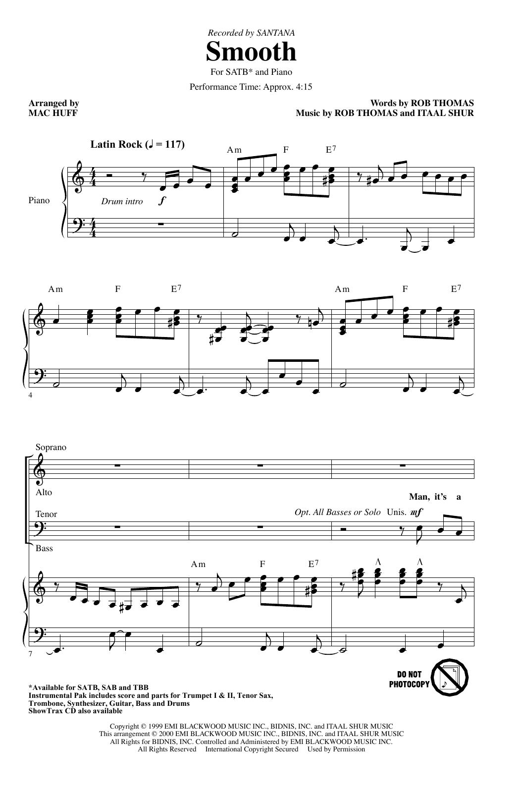 Smooth (arr. Mac Huff) (SATB Choir)