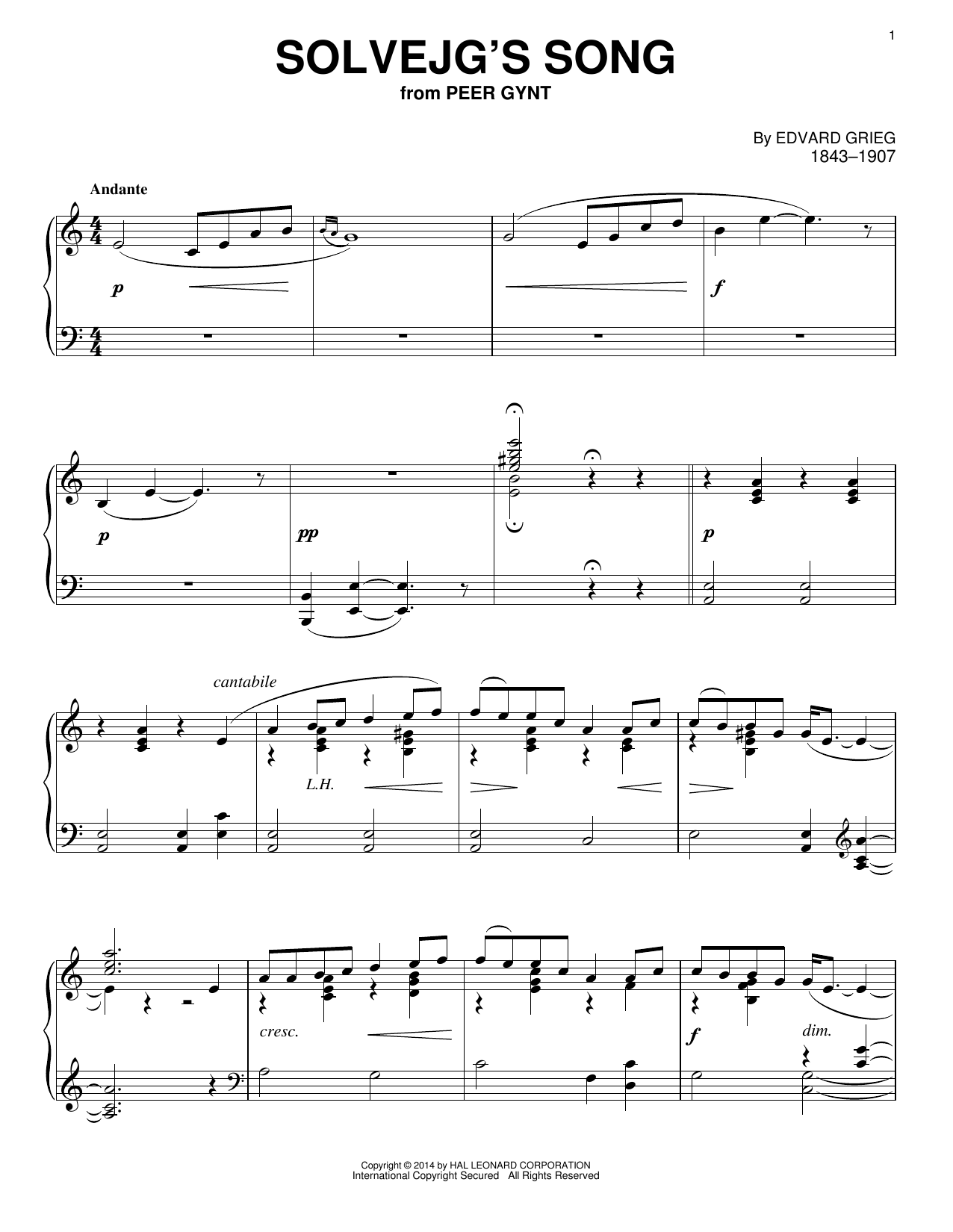 Solvejg's Song Sheet Music