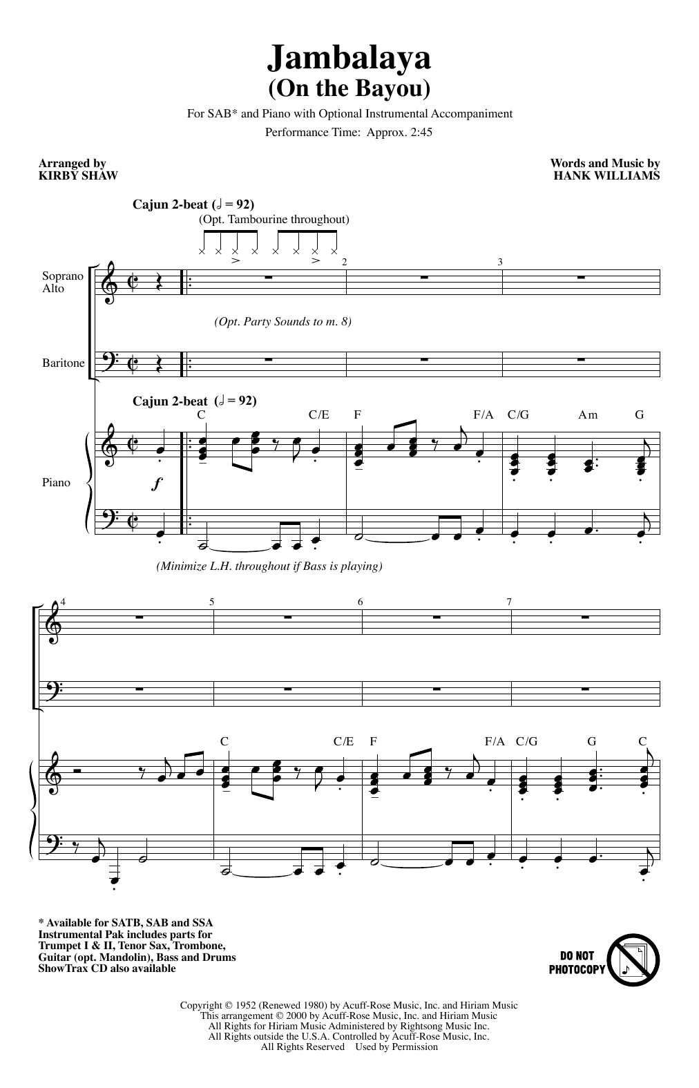 Jambalaya (On The Bayou) (arr. Kirby Shaw) (SAB Choir)