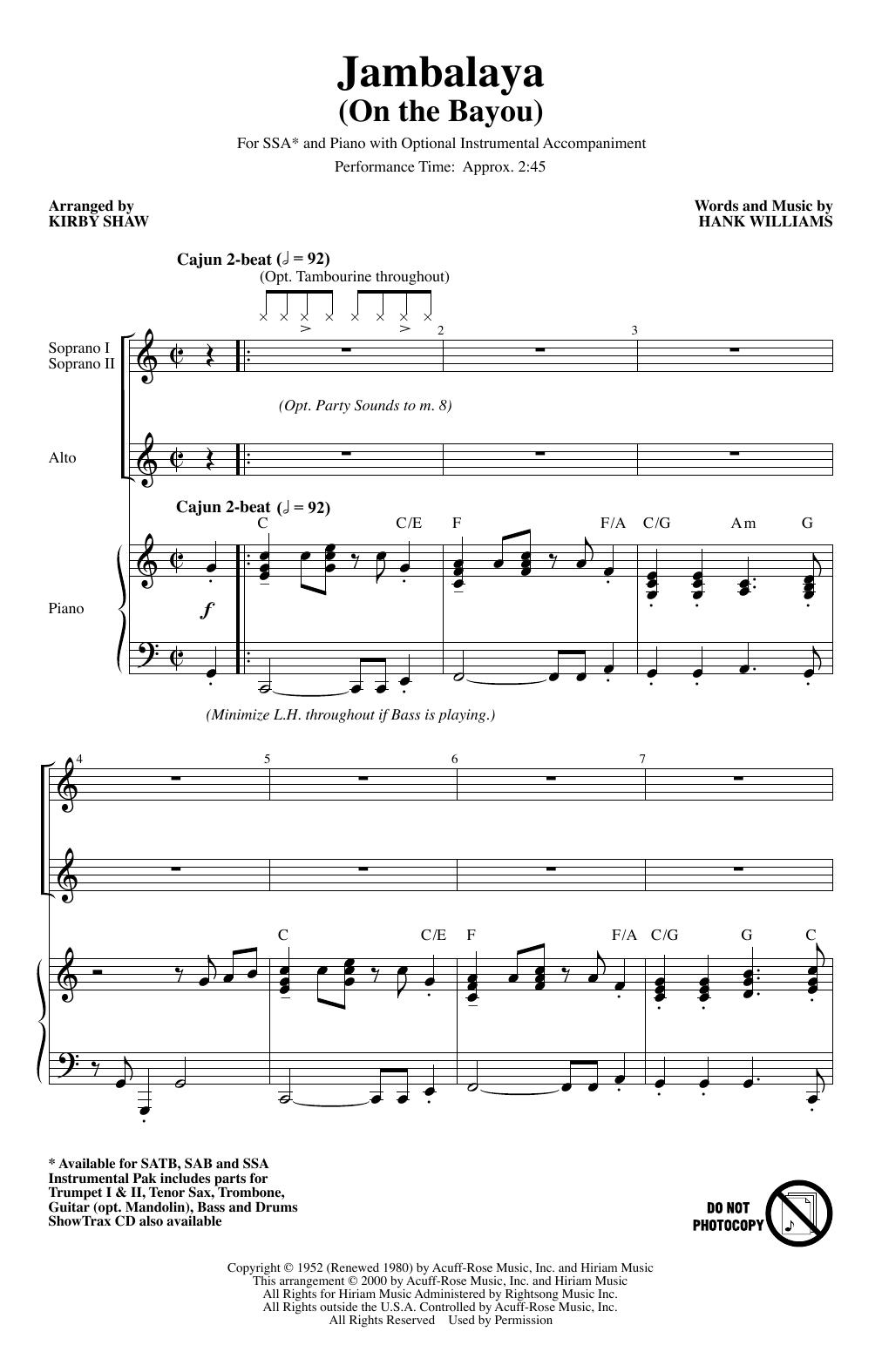 Jambalaya (On The Bayou) (arr. Kirby Shaw) (SSA Choir)