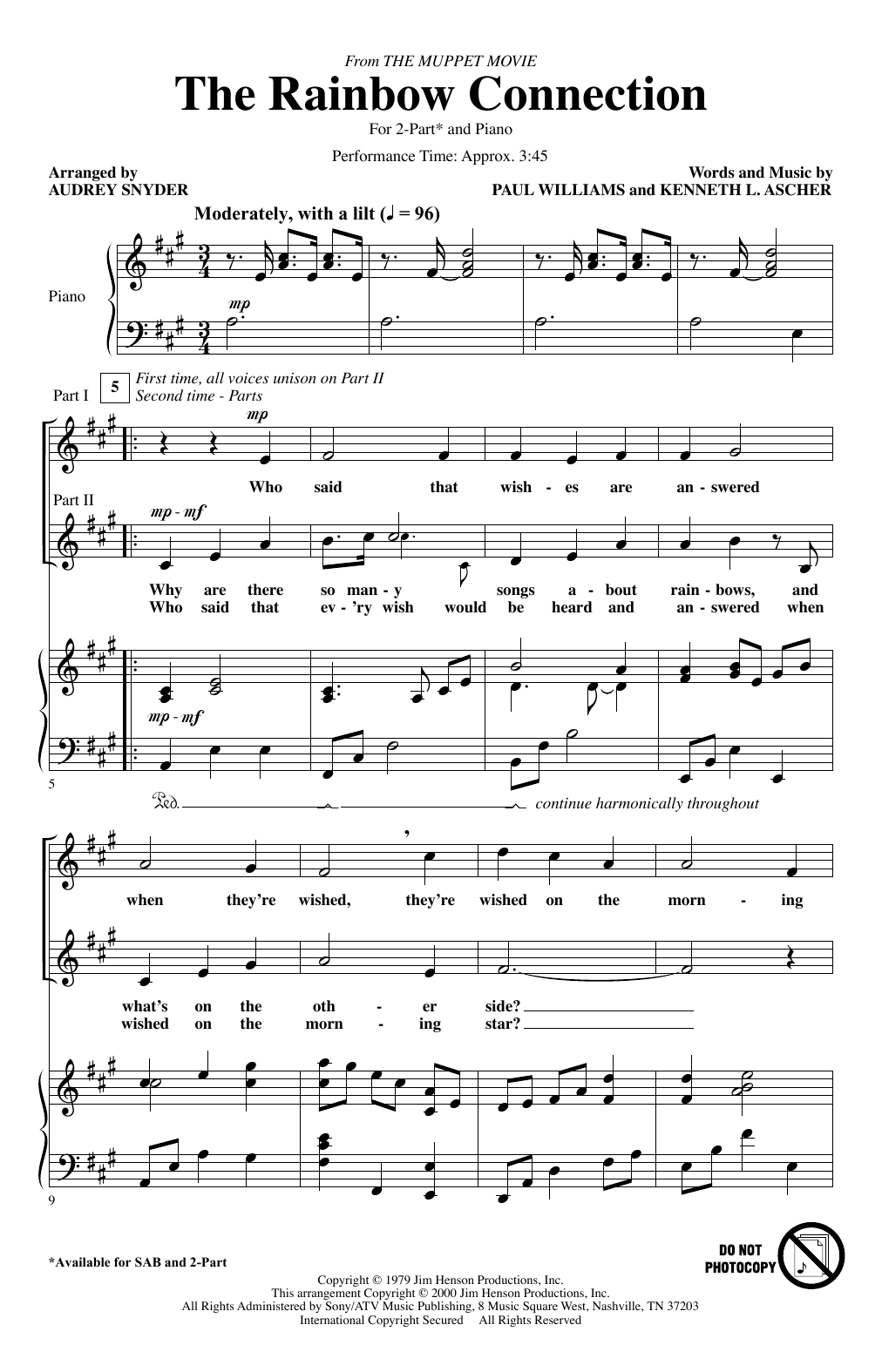 The Rainbow Connection (arr. Audrey Snyder) Sheet Music
