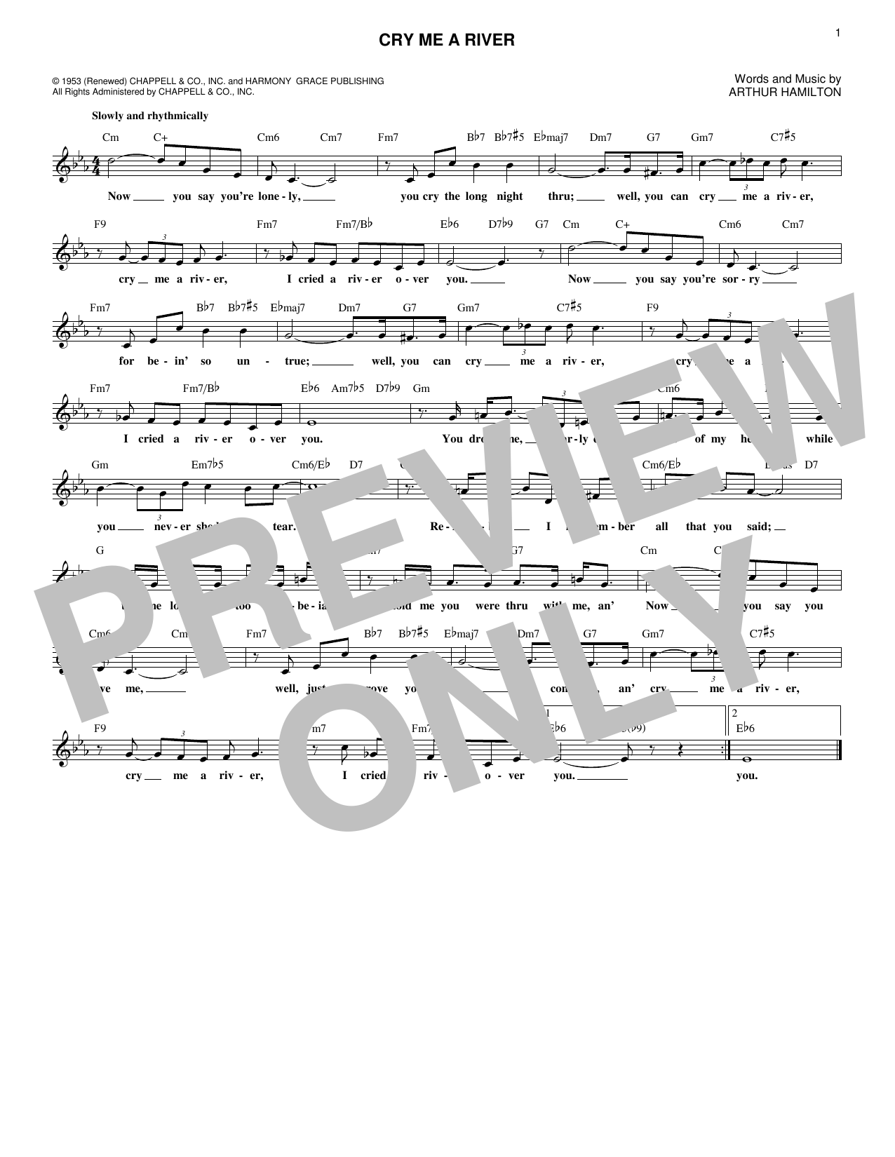 Cry Me A River (Lead Sheet / Fake Book)