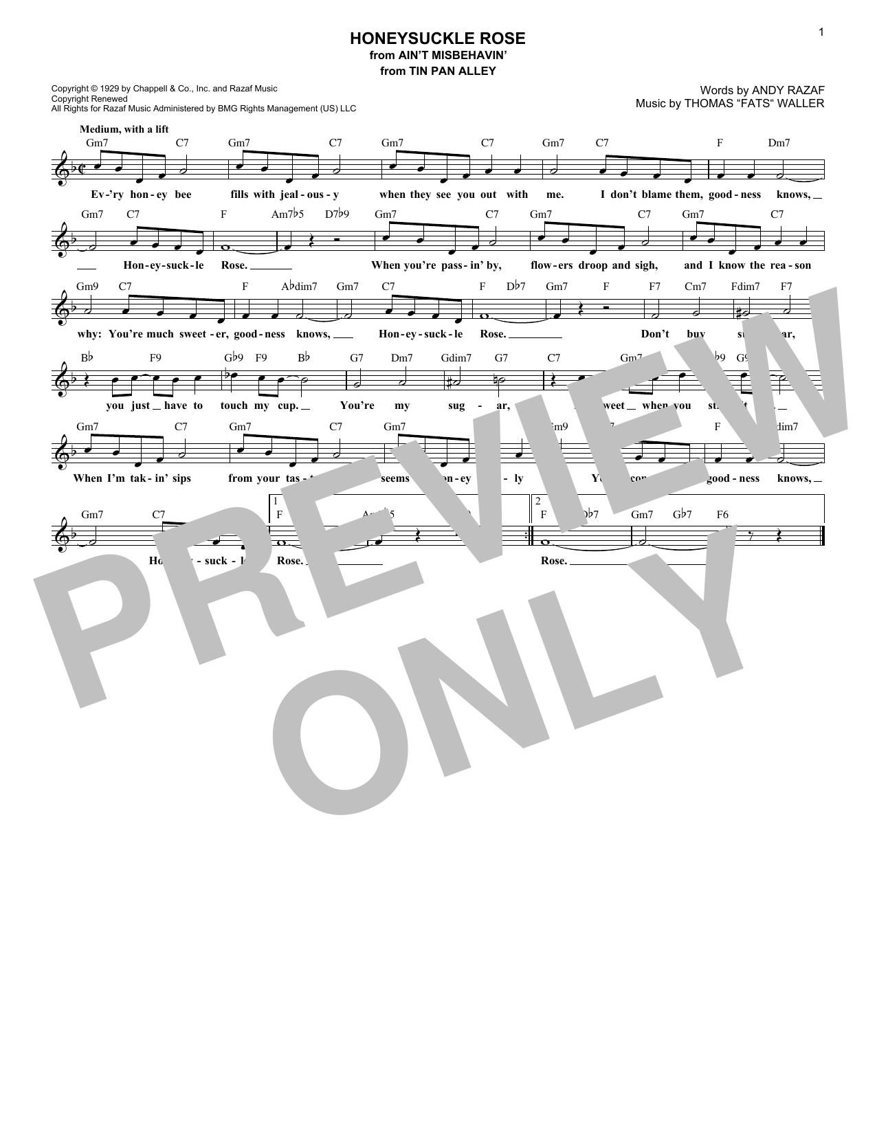 Honeysuckle Rose (Lead Sheet / Fake Book)