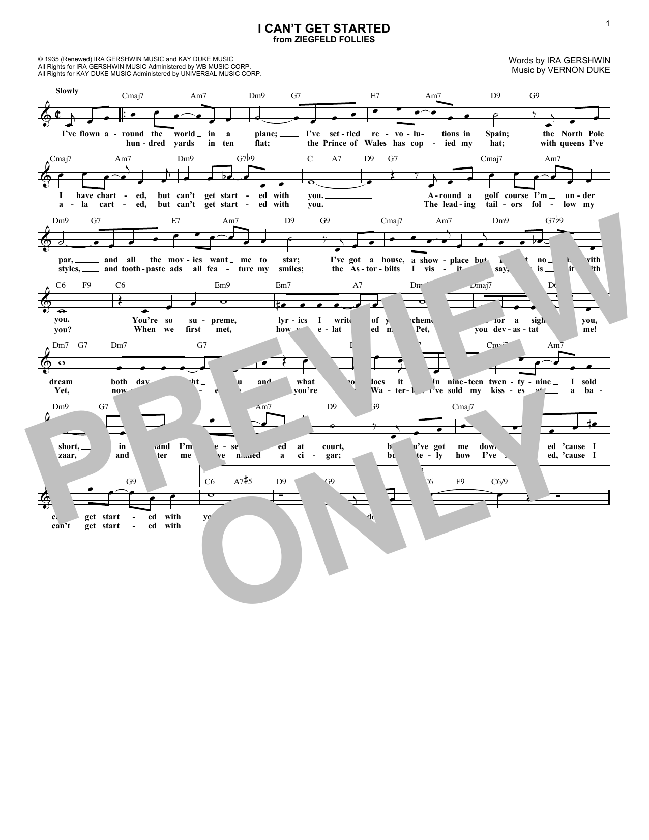 I Can't Get Started (Lead Sheet / Fake Book)