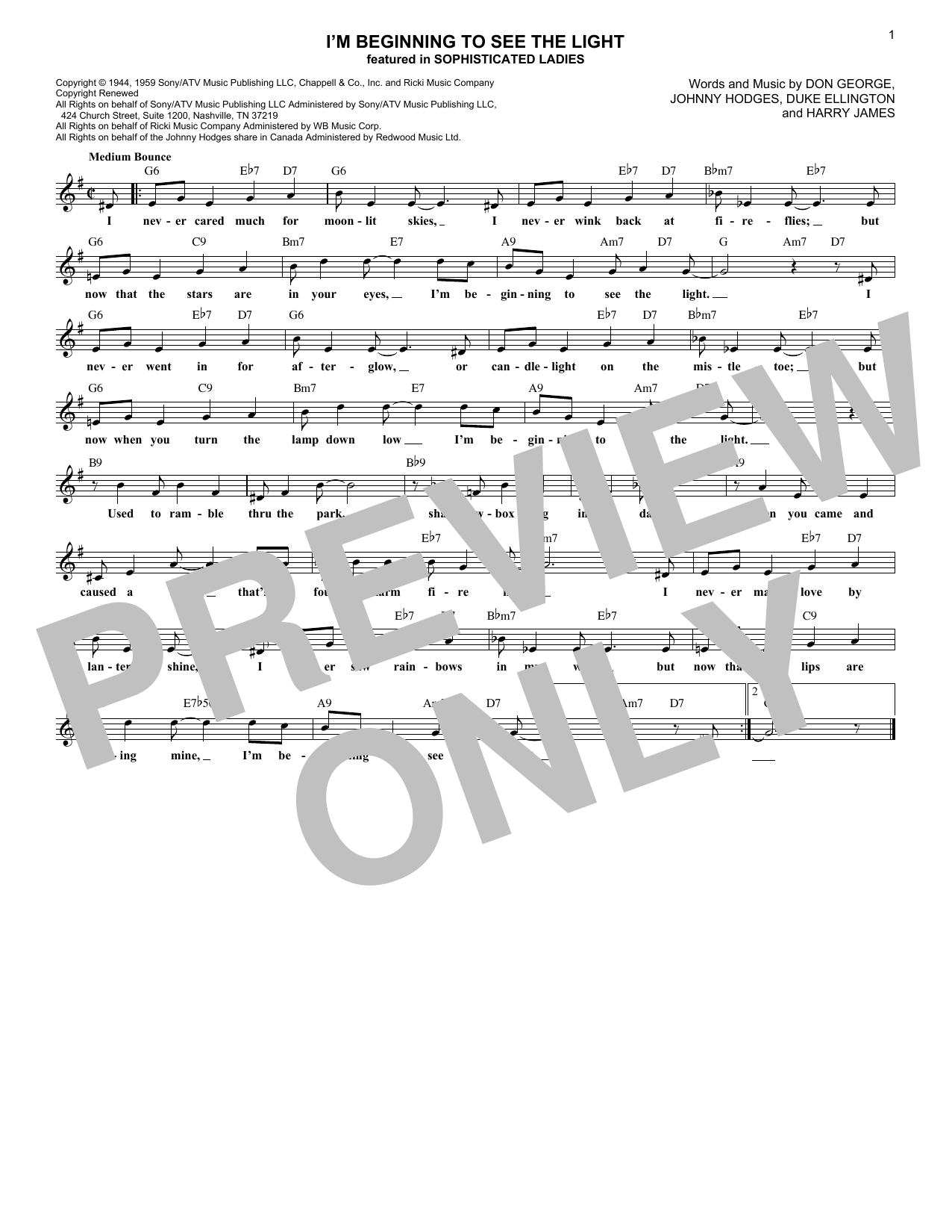 I'm Beginning To See The Light (Lead Sheet / Fake Book)