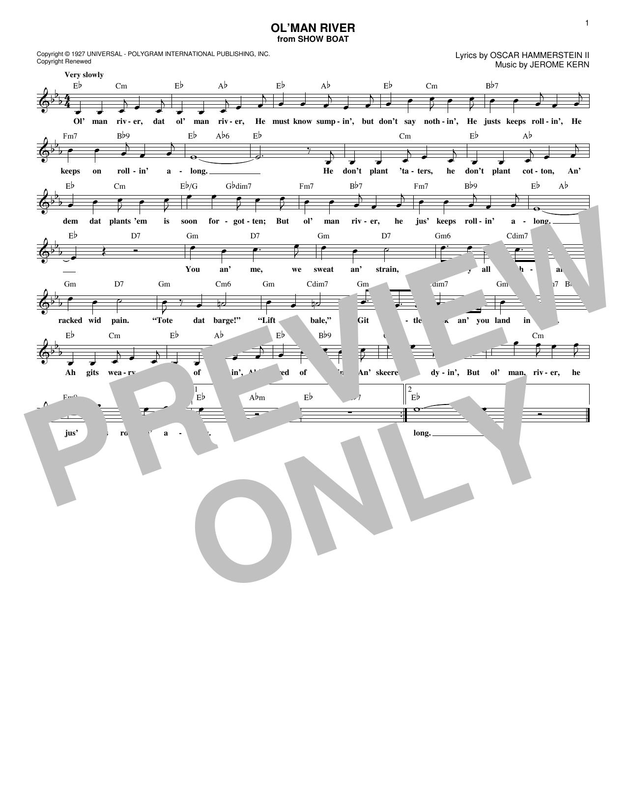 Ol' Man River (Lead Sheet / Fake Book)