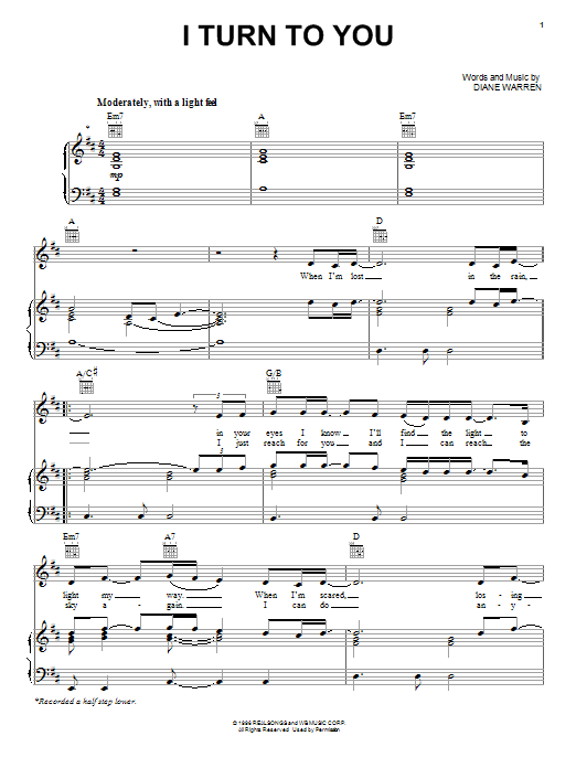 I Turn To You Sheet Music