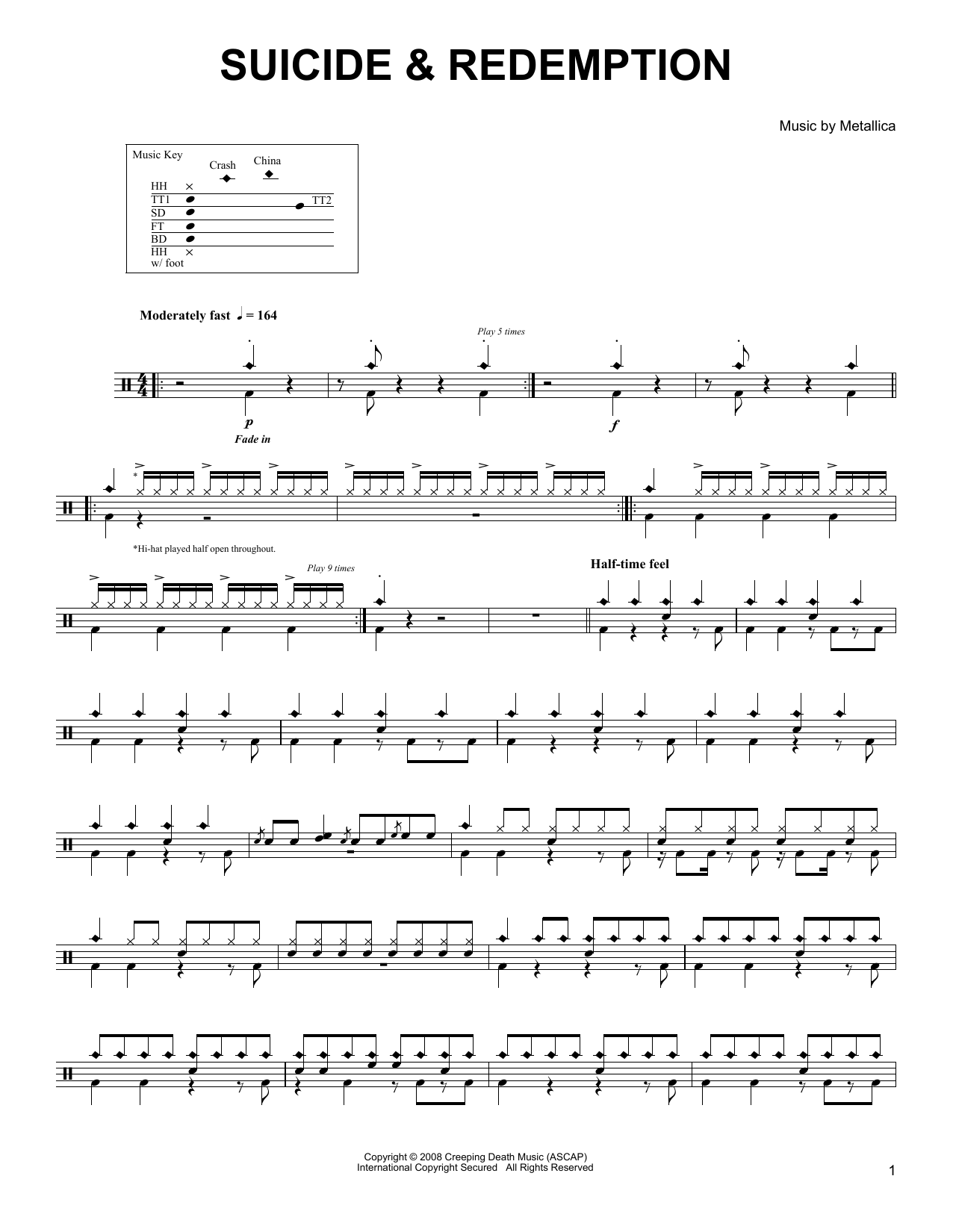 Suicide & Redemption (Drums Transcription)
