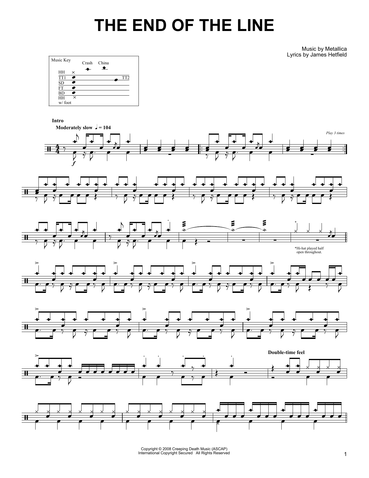 The End Of The Line (Drums Transcription)