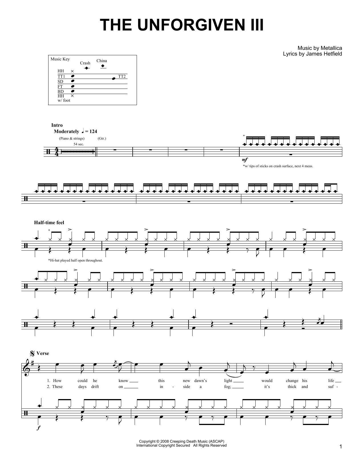 The Unforgiven Iii Metallica Drums Transcription