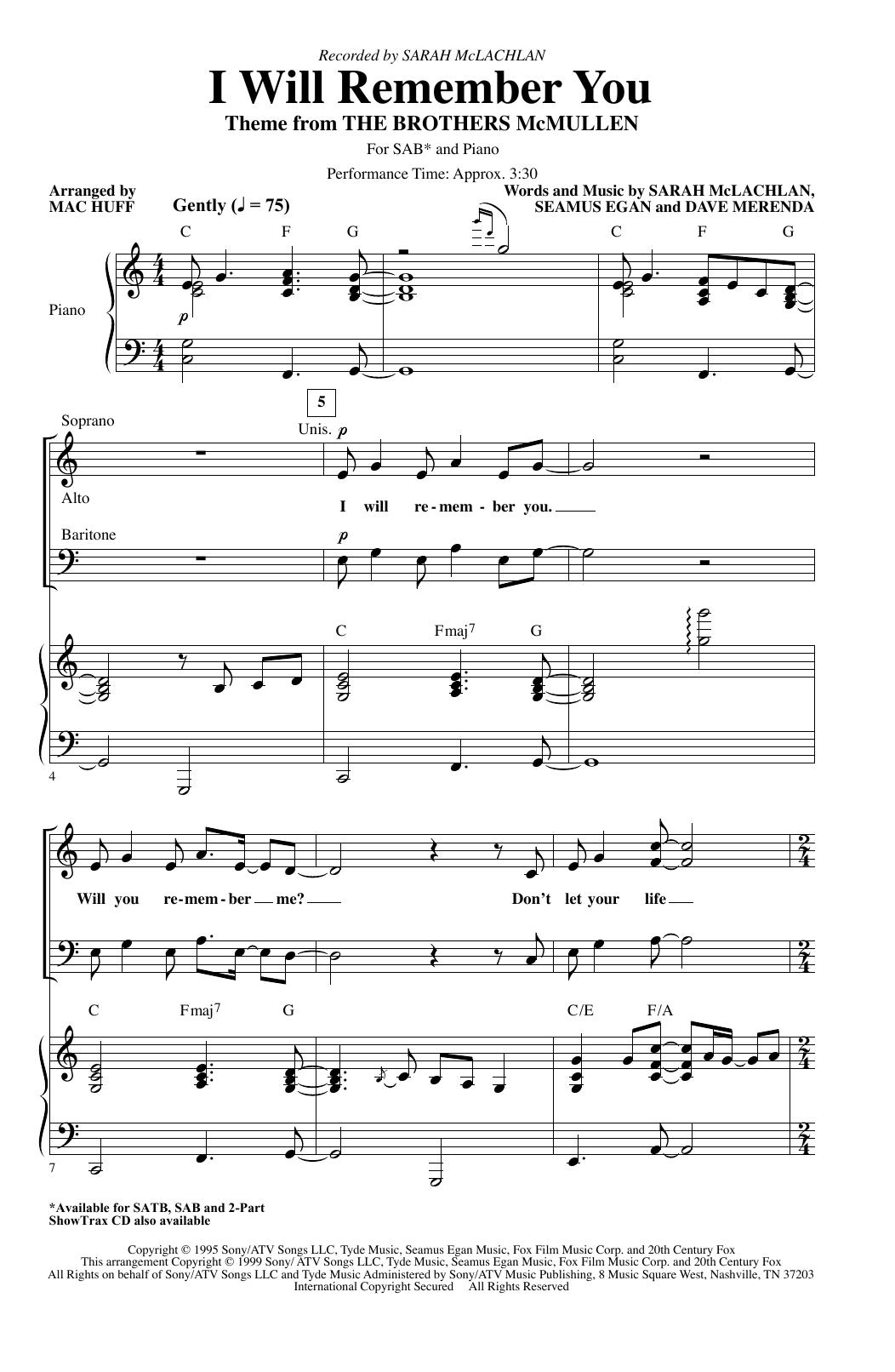 I Will Remember You (arr. Mac Huff) (SAB Choir)