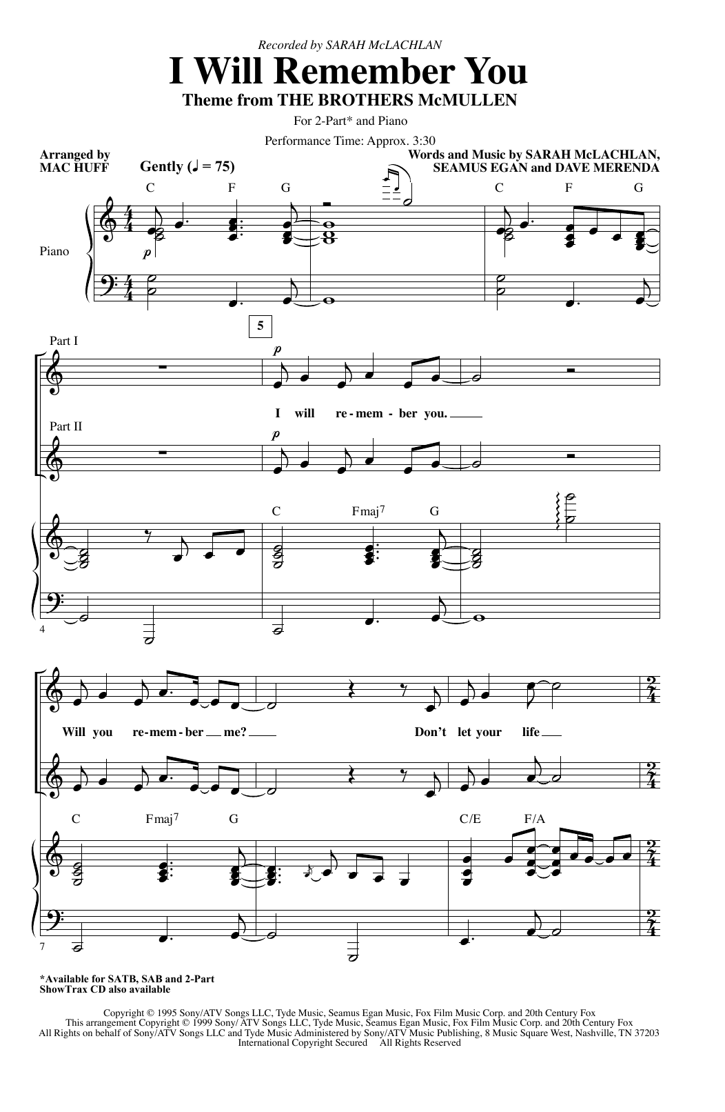 I Will Remember You (arr. Mac Huff) (2-Part Choir)