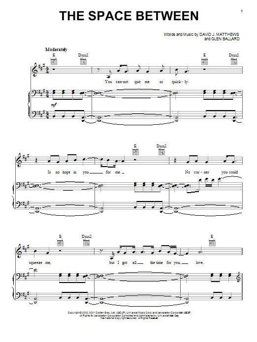 Partition piano The Space Between de Dave Matthews Band - Piano Voix Guitare (Mélodie Main Droite)