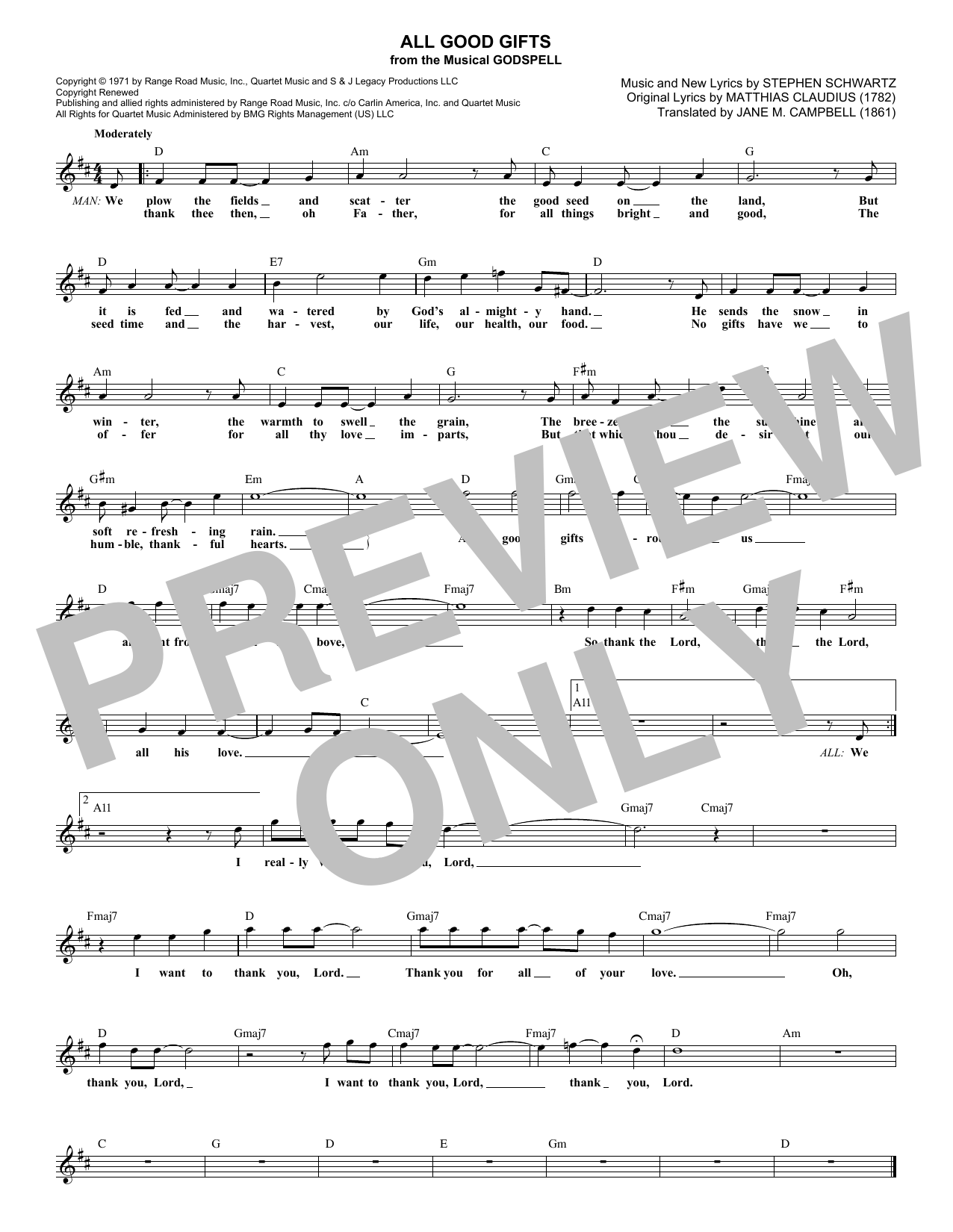 All Good Gifts (from Godspell) (Lead Sheet / Fake Book)