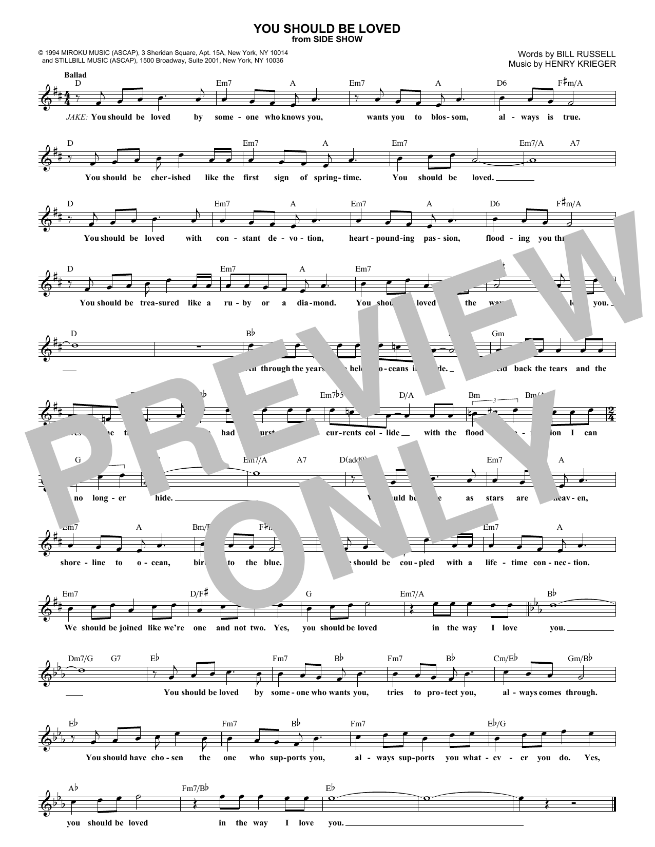 You Should Be Loved (Lead Sheet / Fake Book)