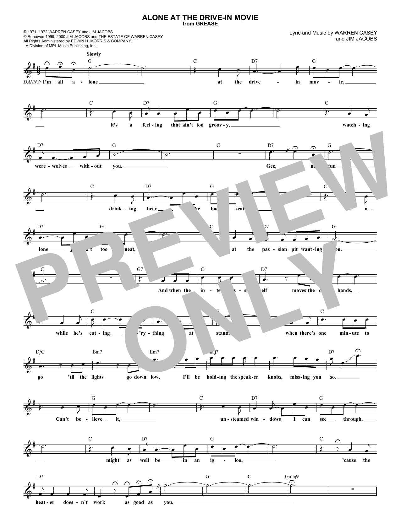 Alone At The Drive-In Movie Sheet Music