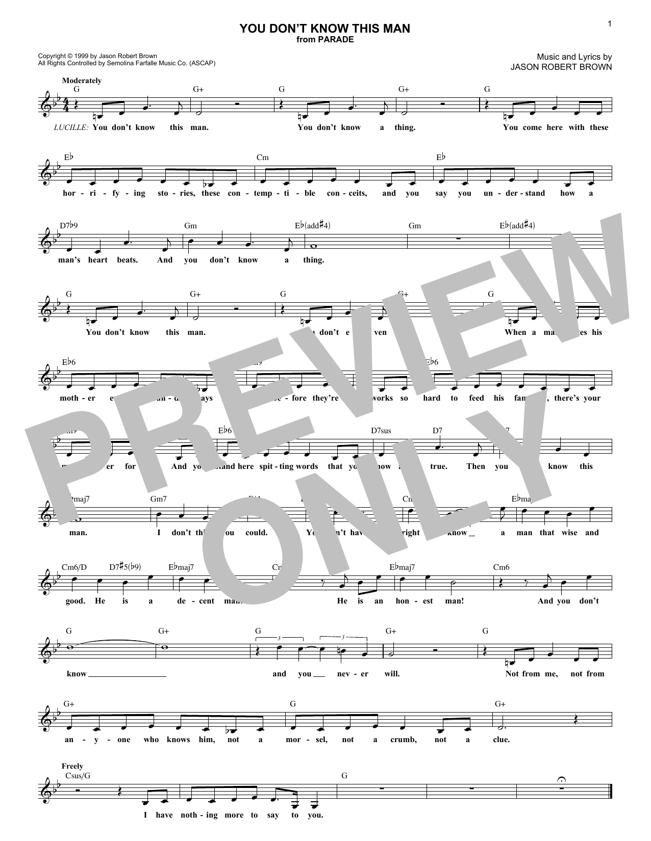 You Don't Know This Man (from Parade) (Lead Sheet / Fake Book)