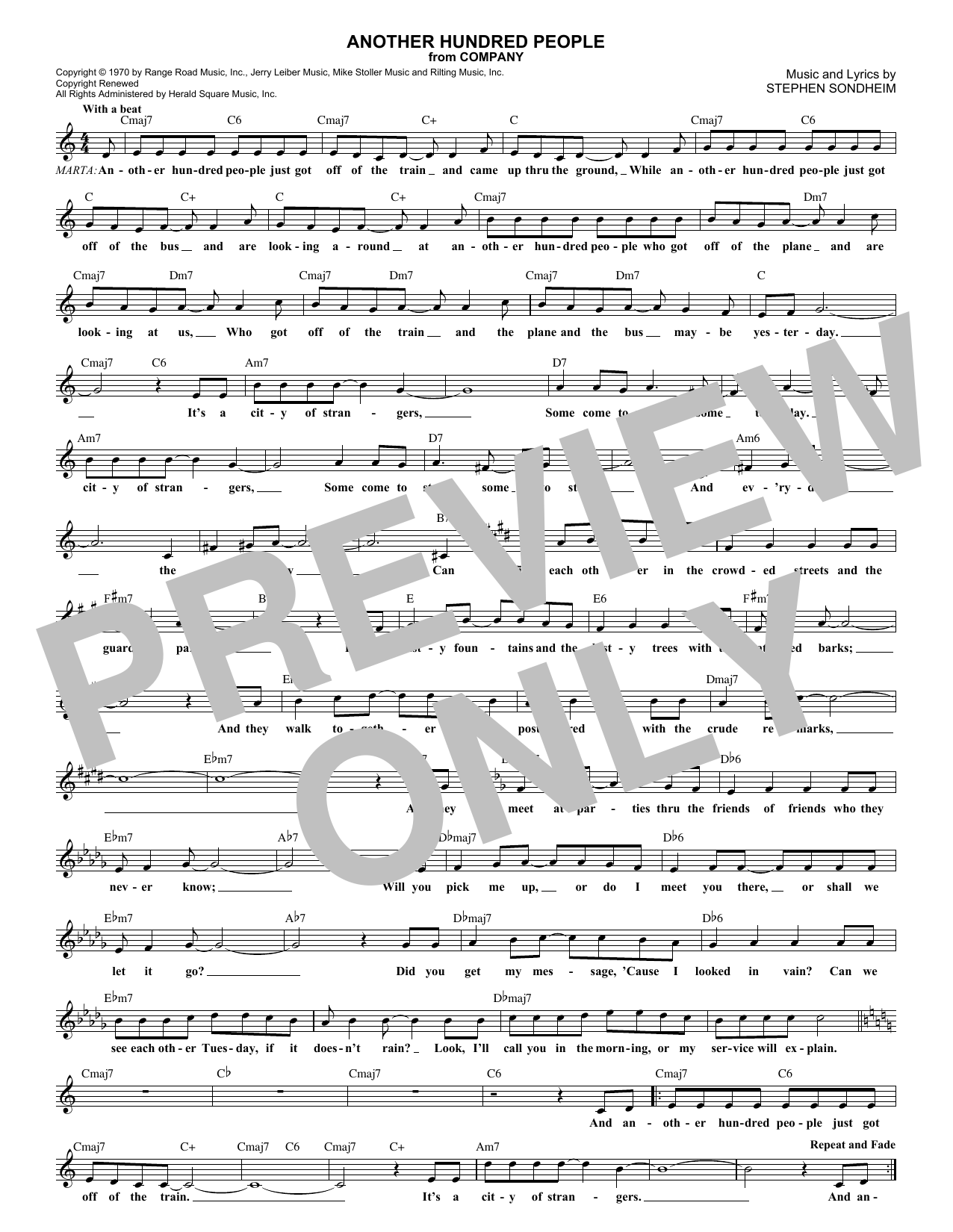 Another Hundred People (Lead Sheet / Fake Book)
