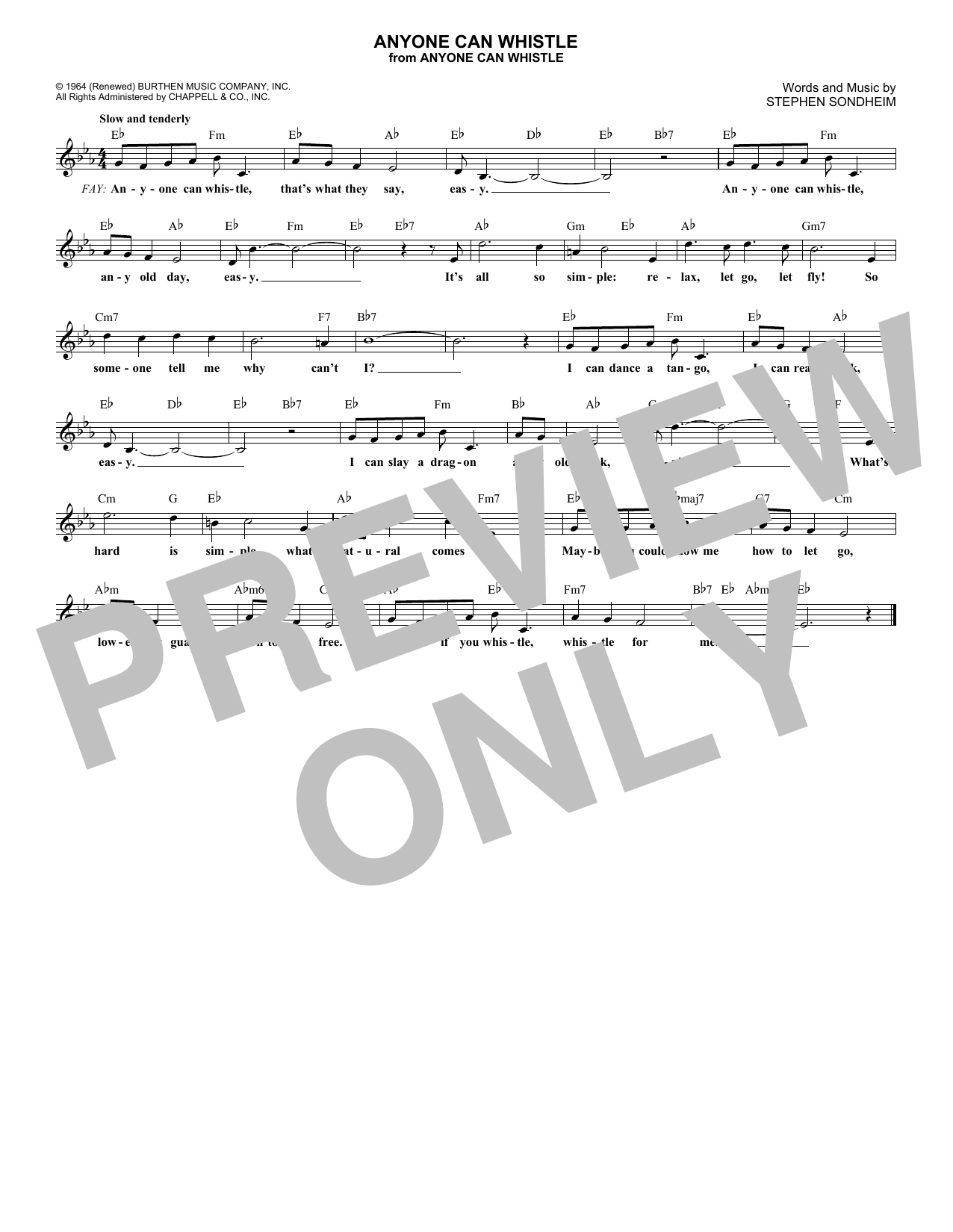 Anyone Can Whistle (Melody Line, Lyrics & Chords)