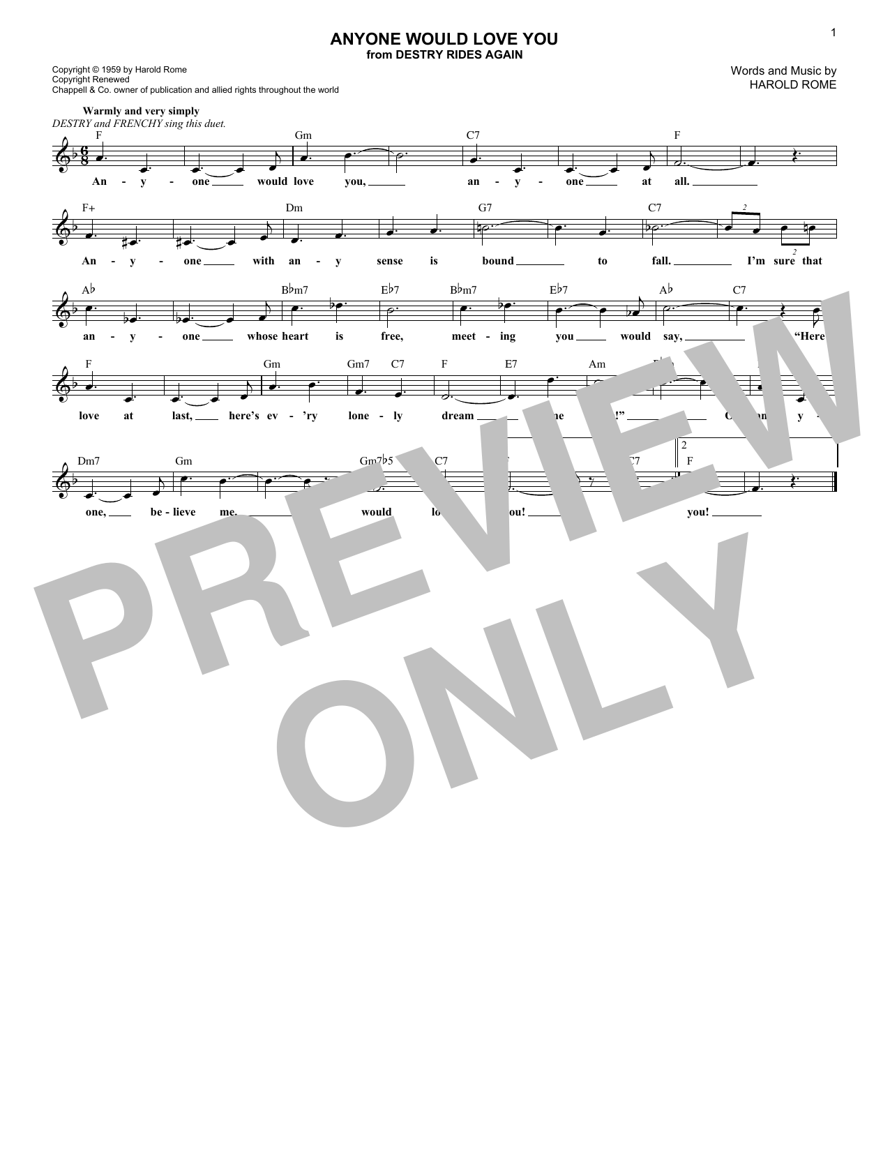 Anyone Would Love You Sheet Music