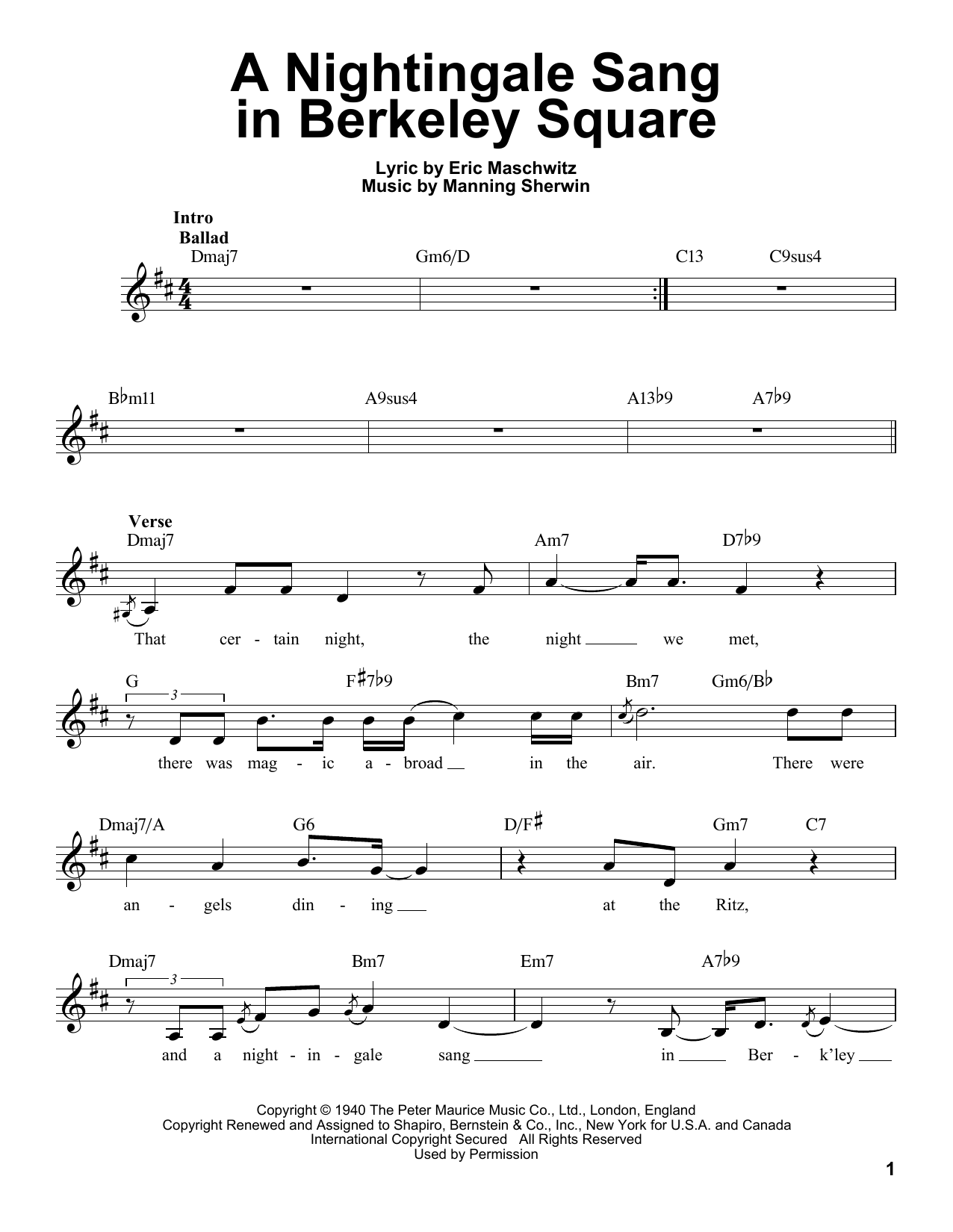 A Nightingale Sang In Berkeley Square Sheet Music