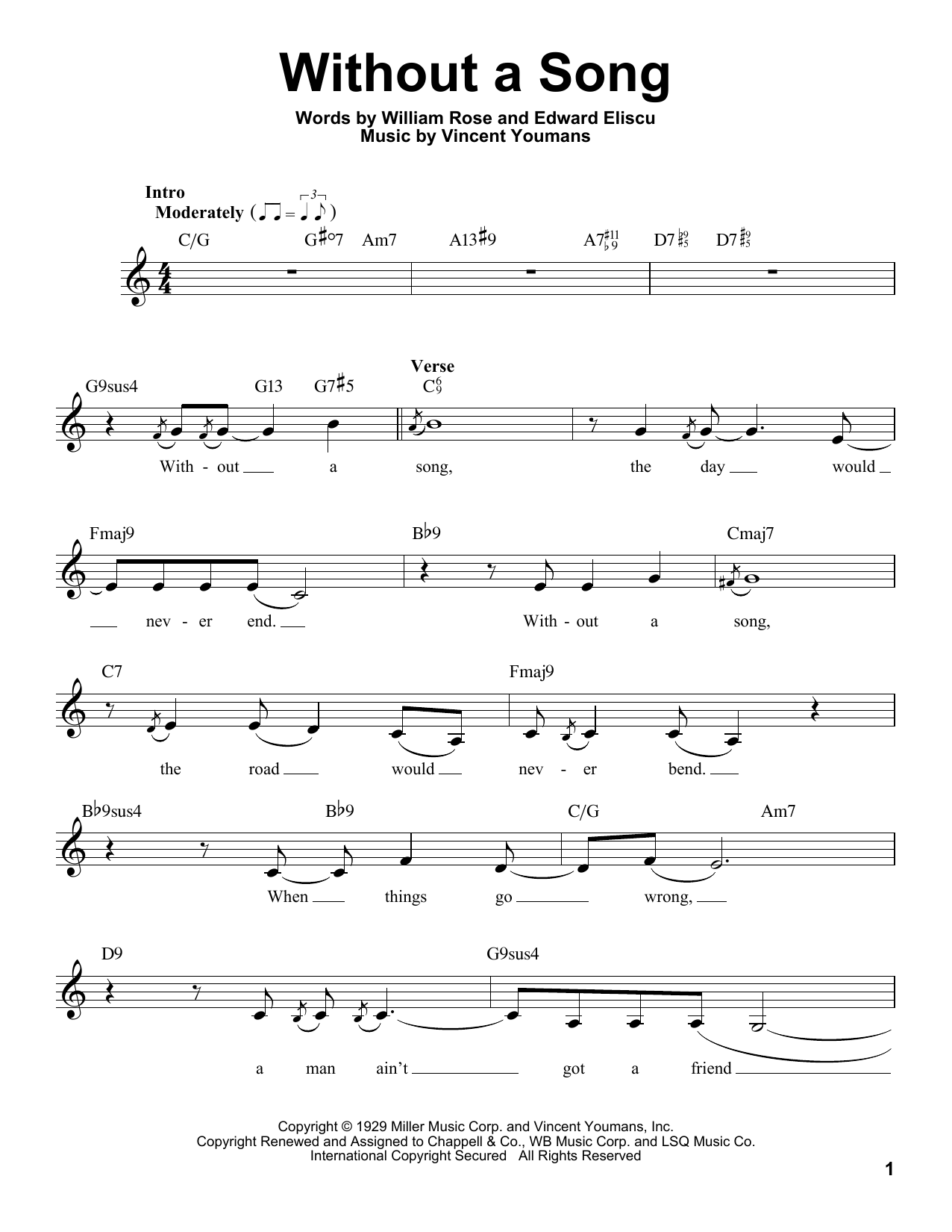 Without A Song Sheet Music